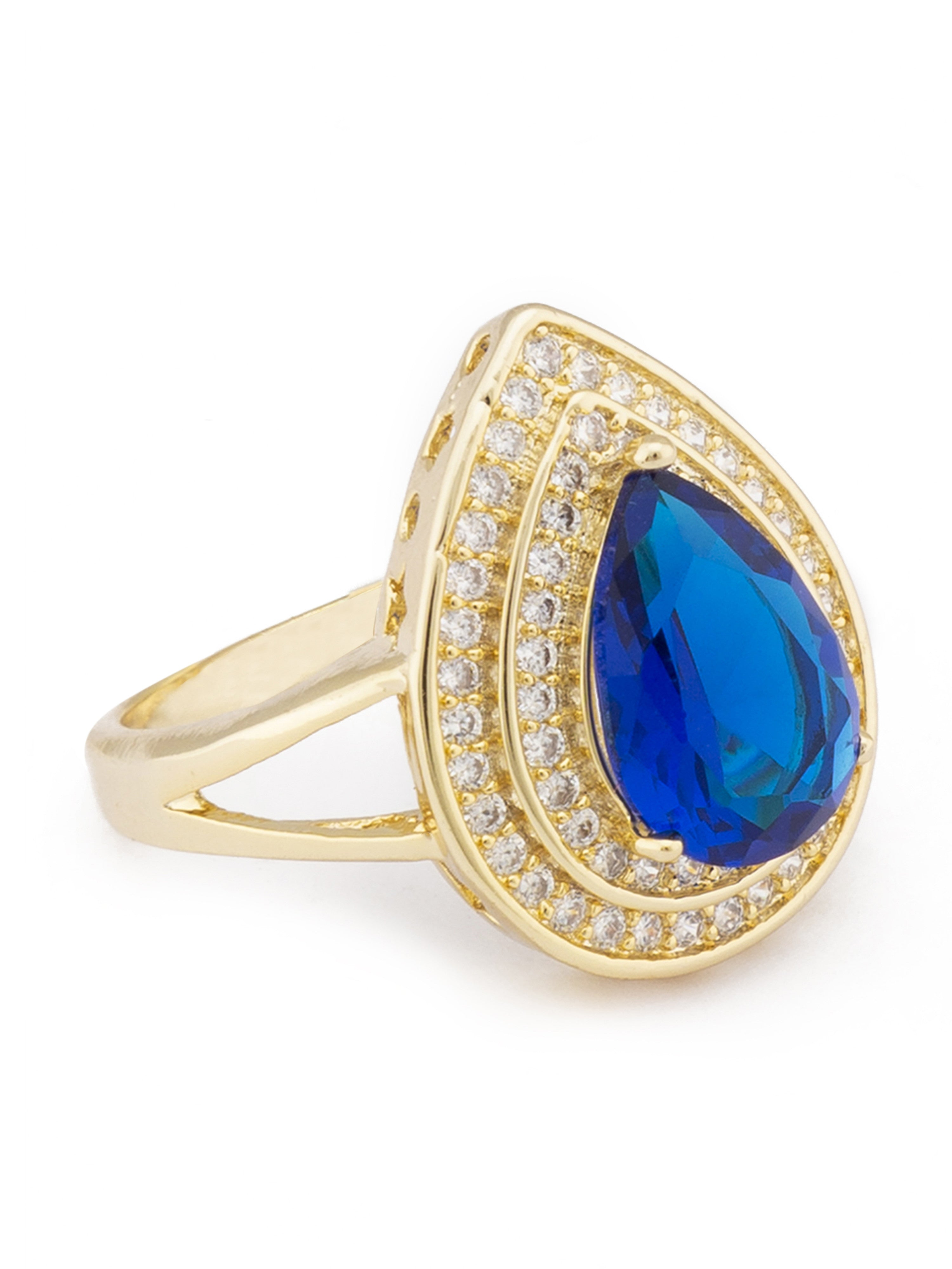 Navy Blue Stone Gold Statement Ring-2
