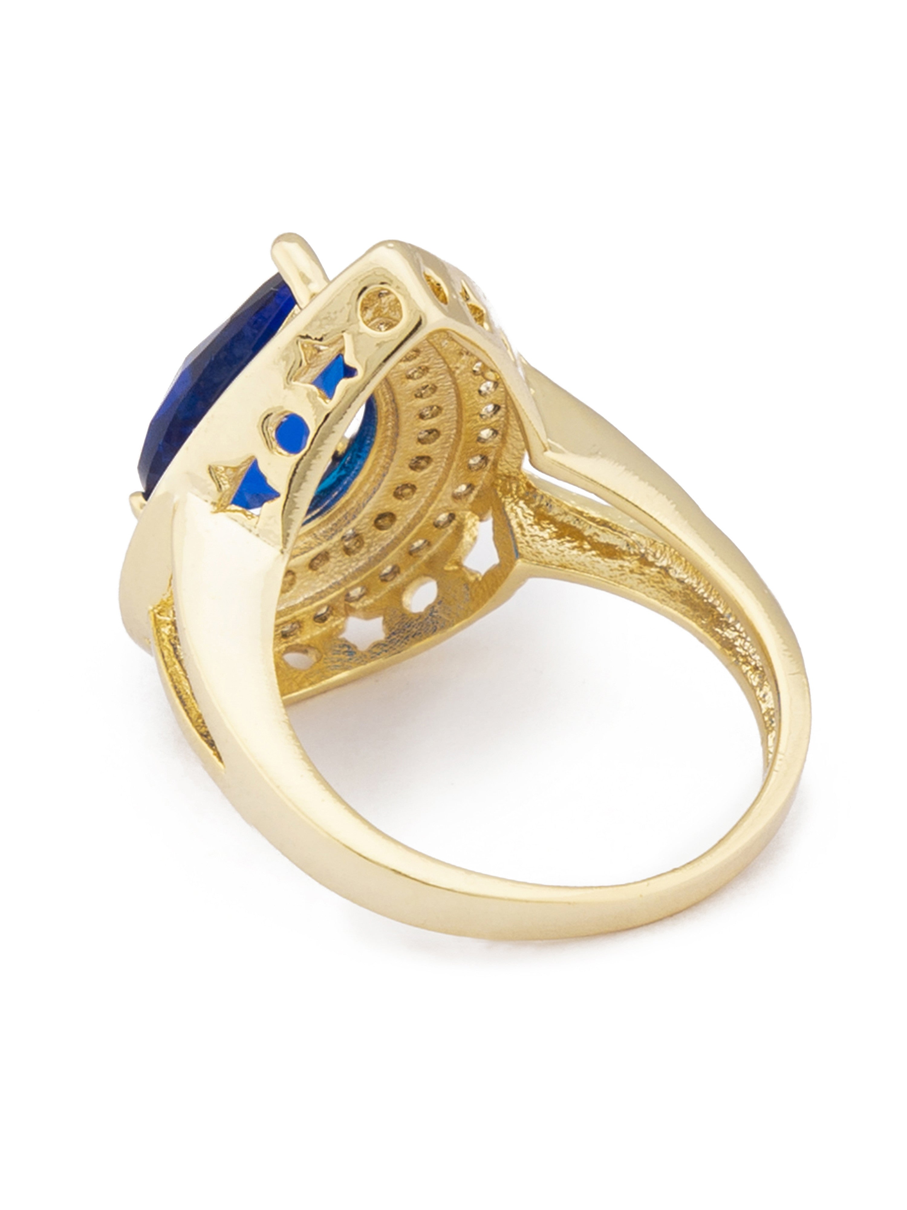 Navy Blue Stone Gold Statement Ring-3