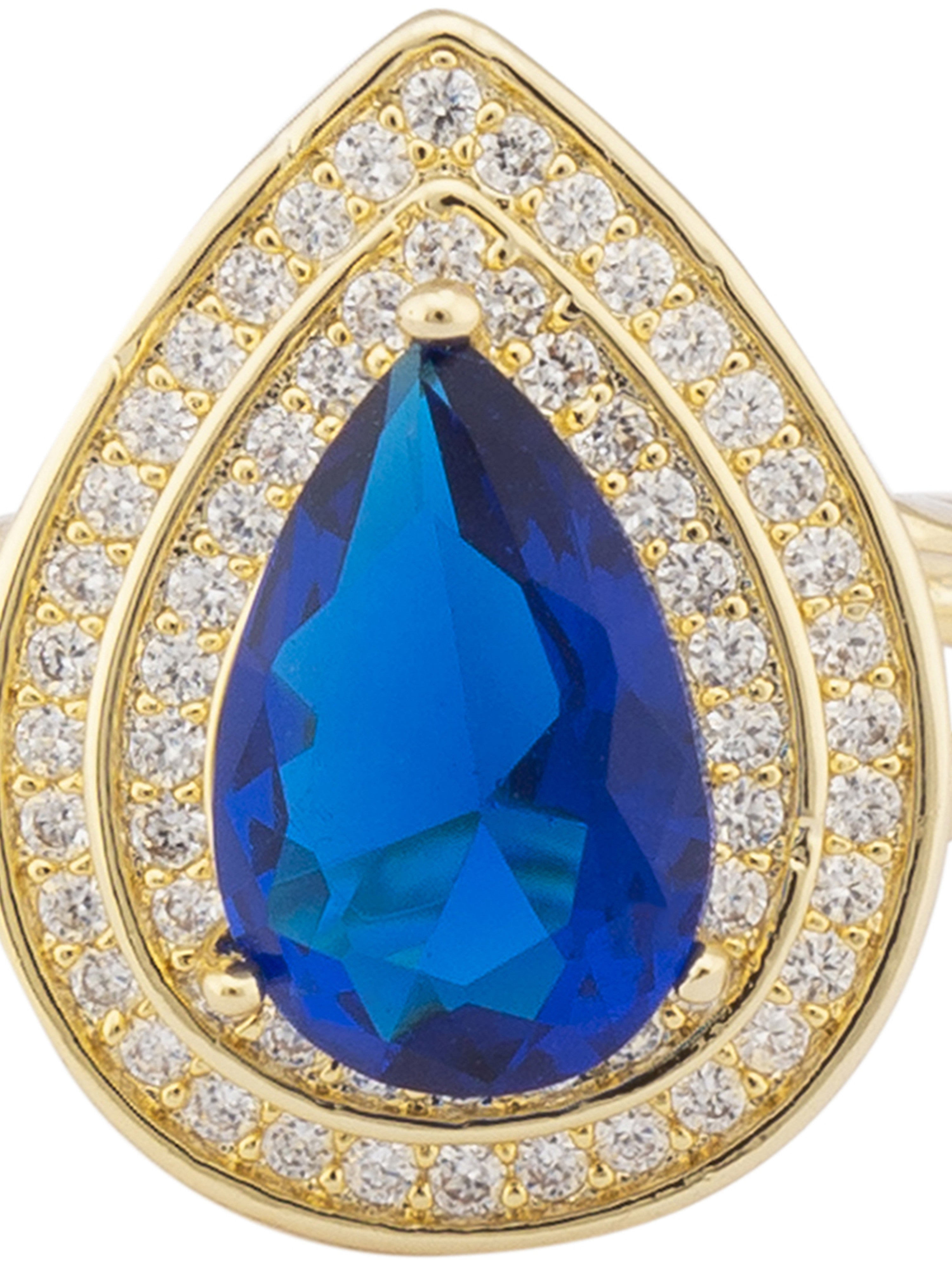 Navy Blue Stone Gold Statement Ring-4