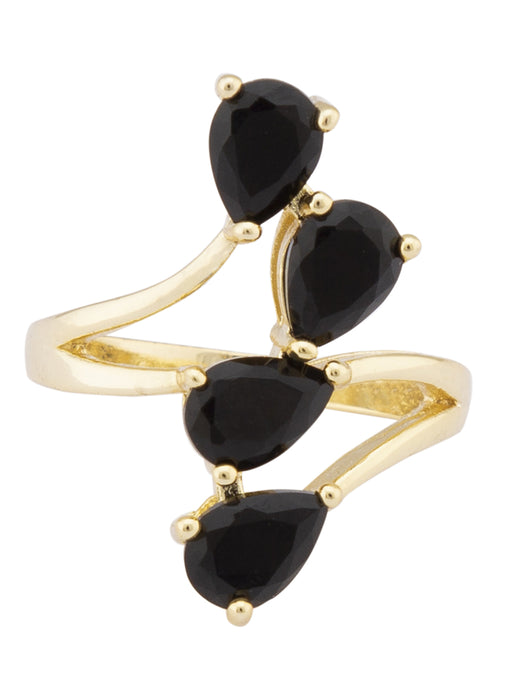 Black Stone Gold Minimalist Ring-1