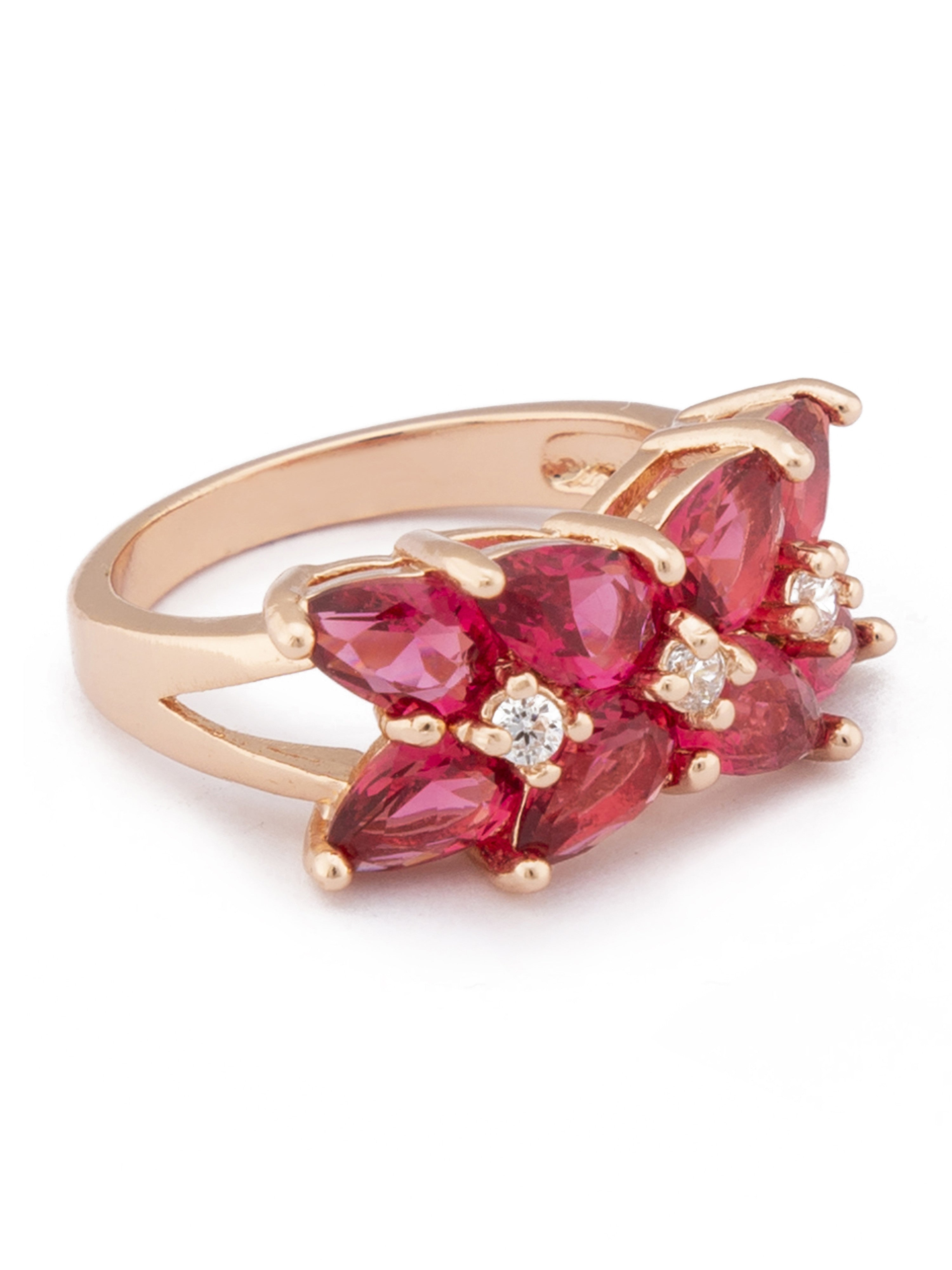 Pink White Rose Gold Statement Ring-2