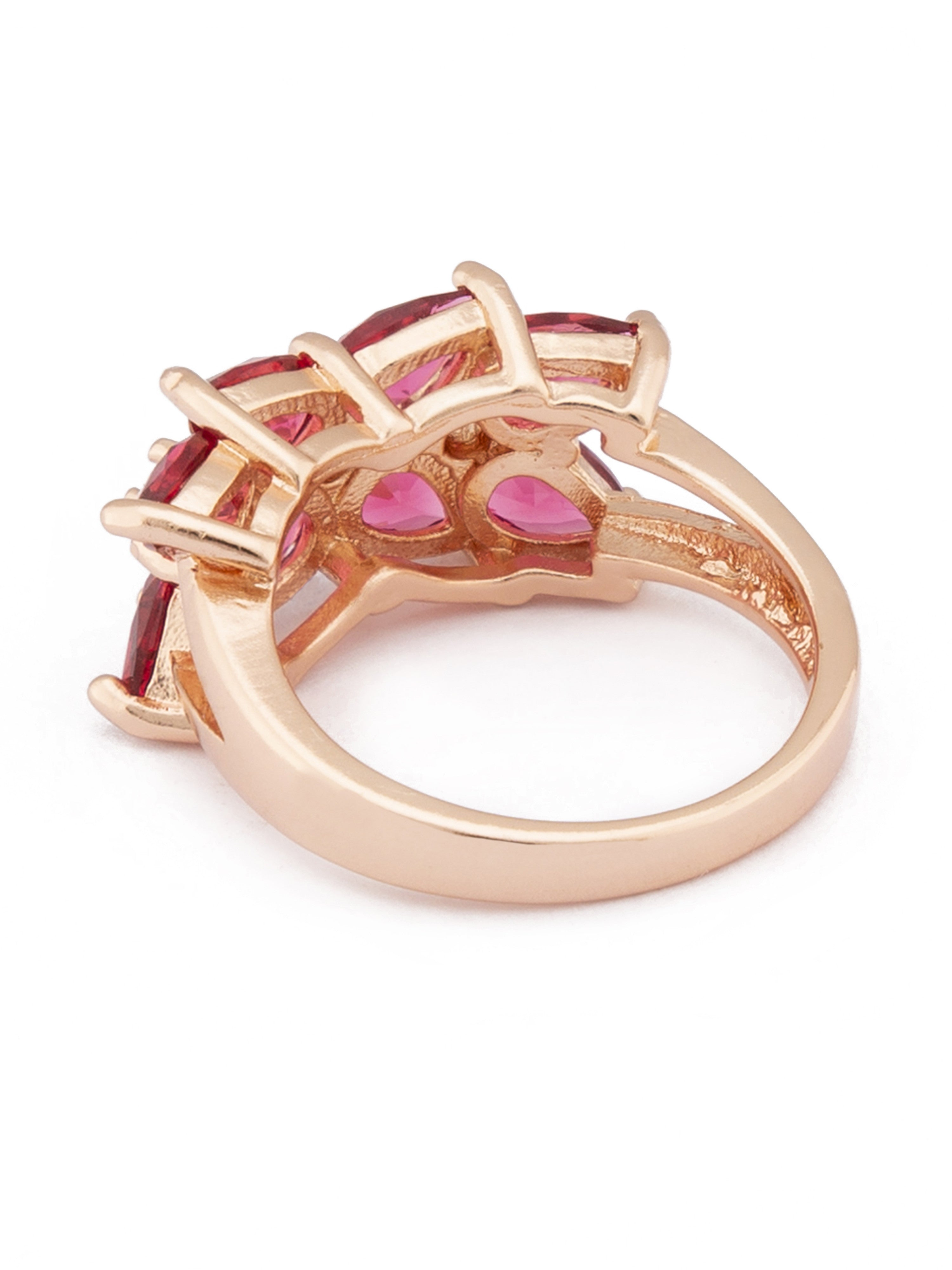 Pink White Rose Gold Statement Ring-3