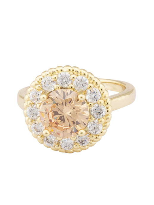 Champagne Stone Gold Statement Ring-1