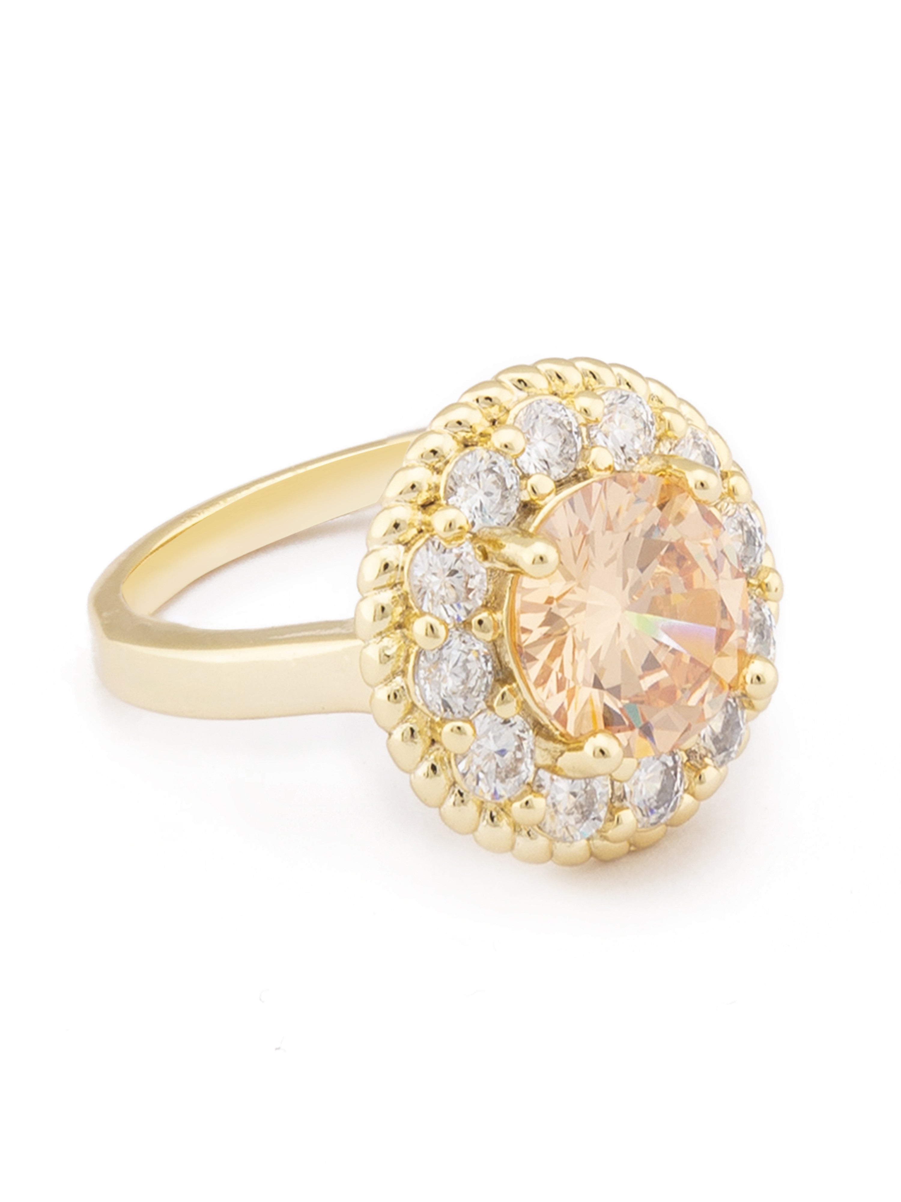 Champagne Stone Gold Statement Ring-2