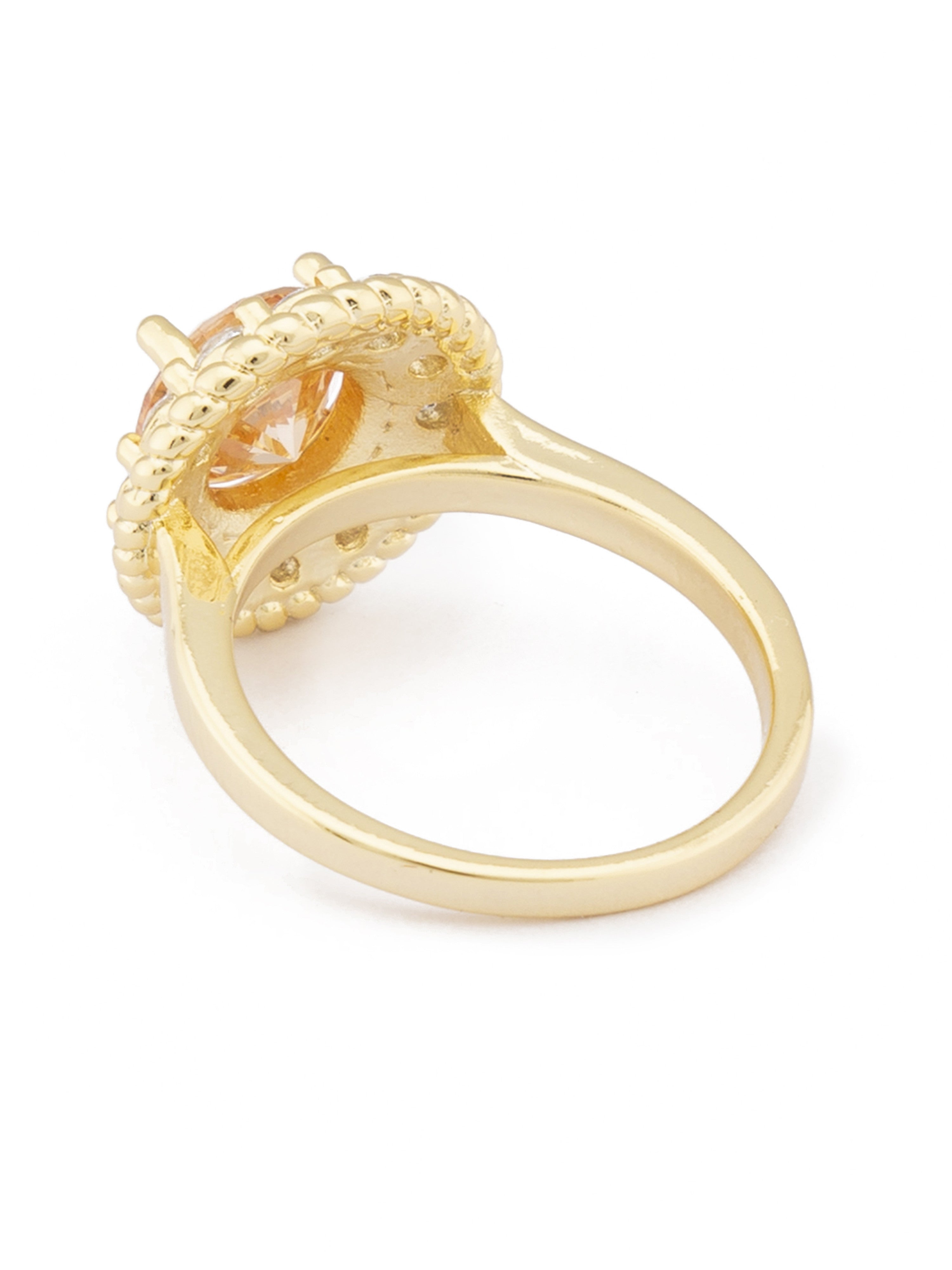 Champagne Stone Gold Statement Ring-3