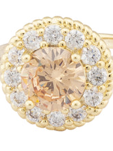 Load image into Gallery viewer, Champagne Stone Gold Statement Ring-4
