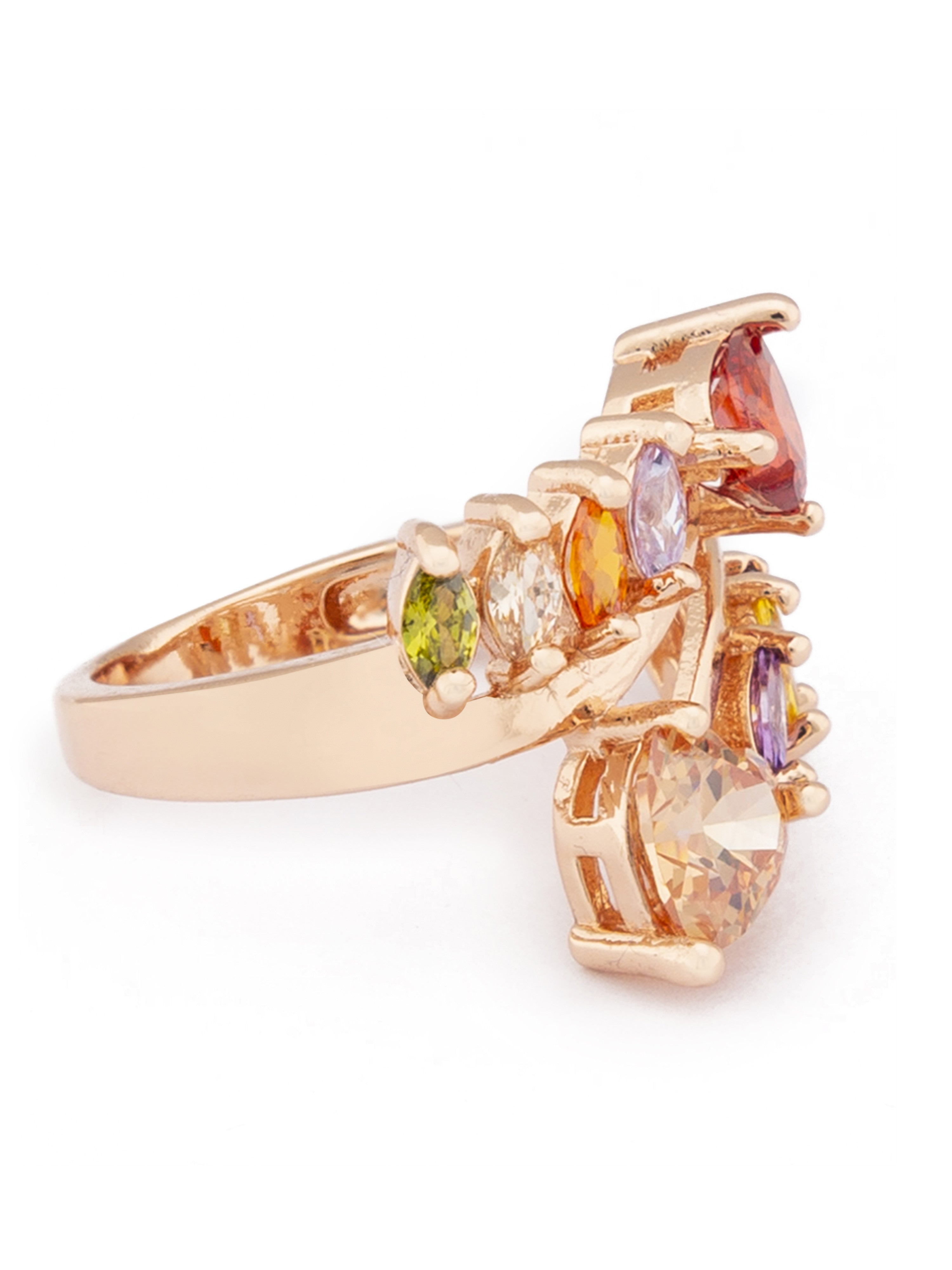 Multi-color Stone Rose Gold Ring-2