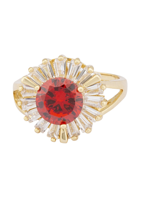 Red White Stone Gold Statement Ring-1