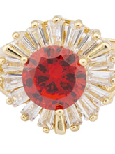 Load image into Gallery viewer, Red White Stone Gold Statement Ring-4