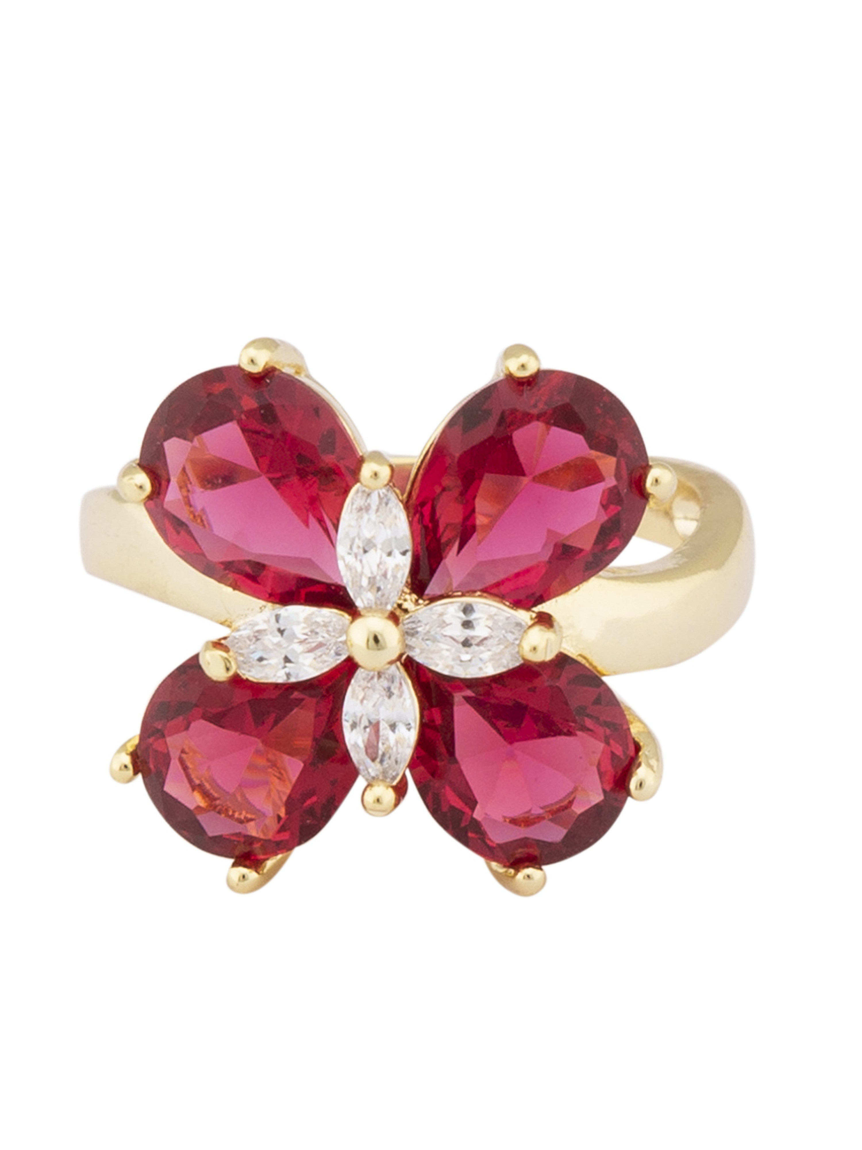 Pink Gold Floral Statement Ring-1