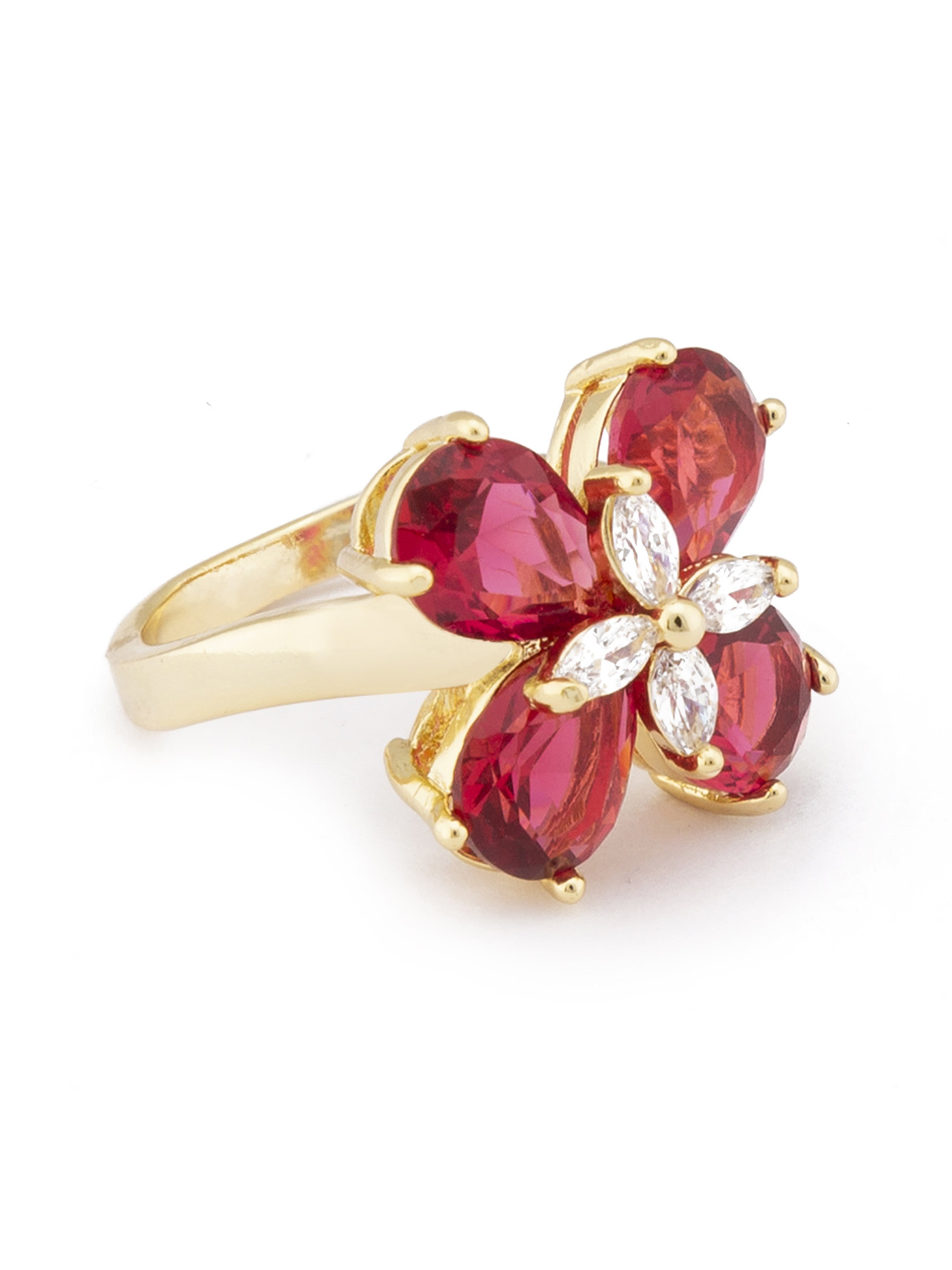 Pink Gold Floral Statement Ring-2