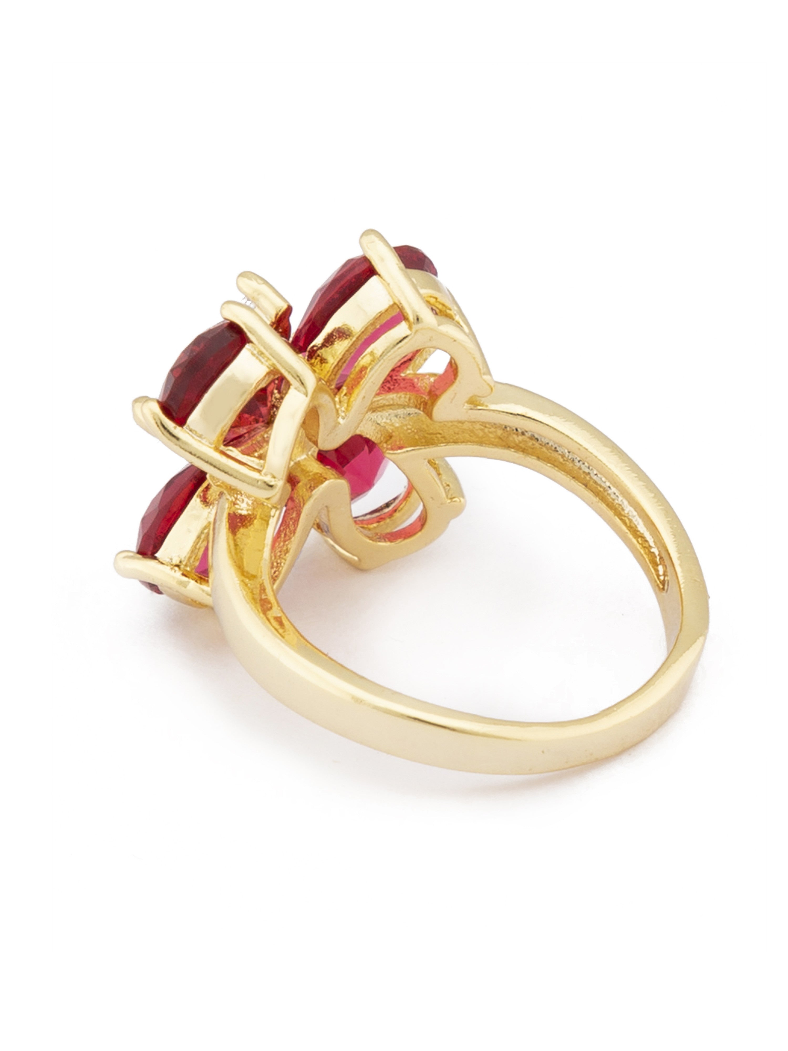 Pink Gold Floral Statement Ring-3
