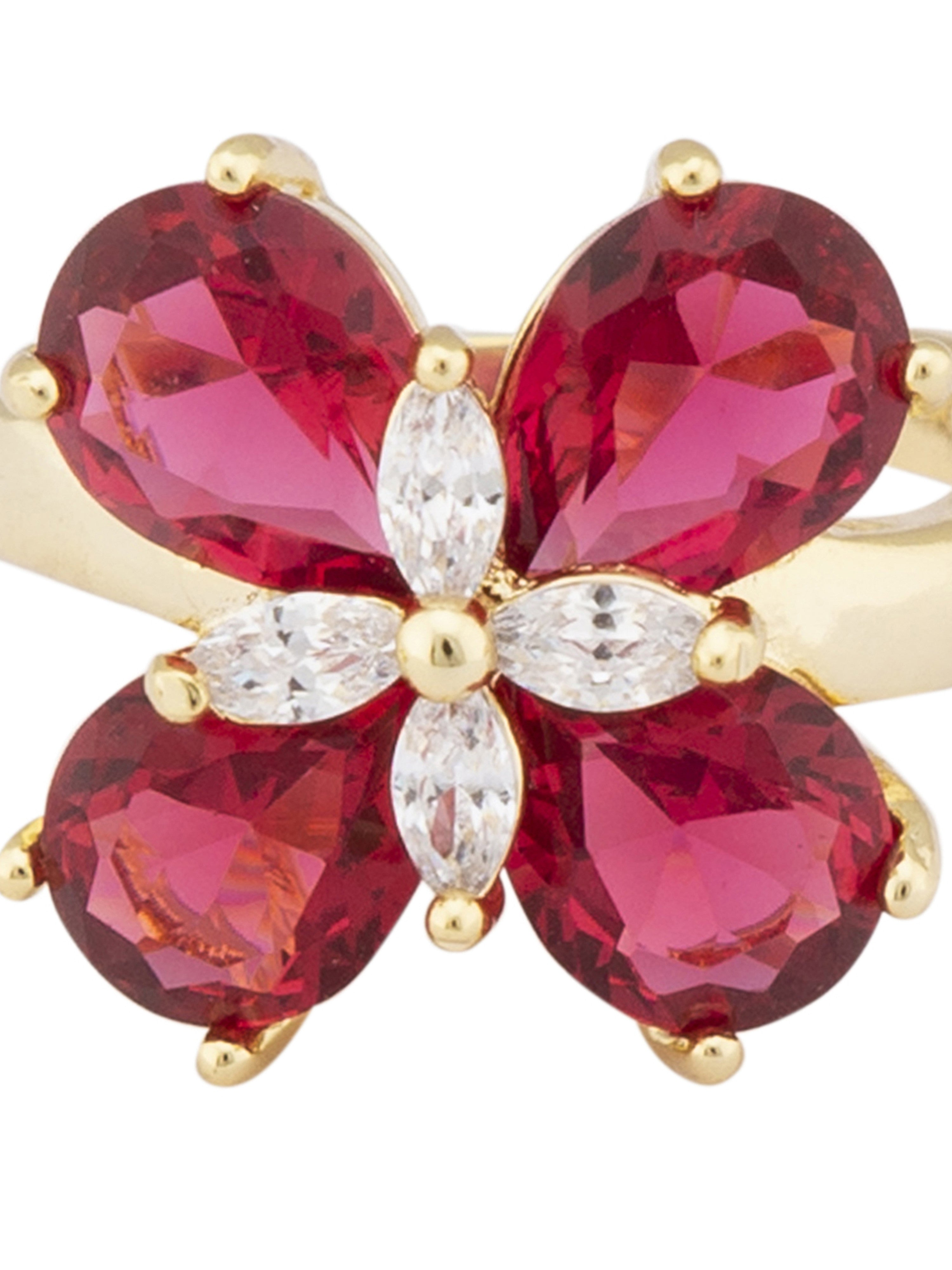 Pink Gold Floral Statement Ring-4