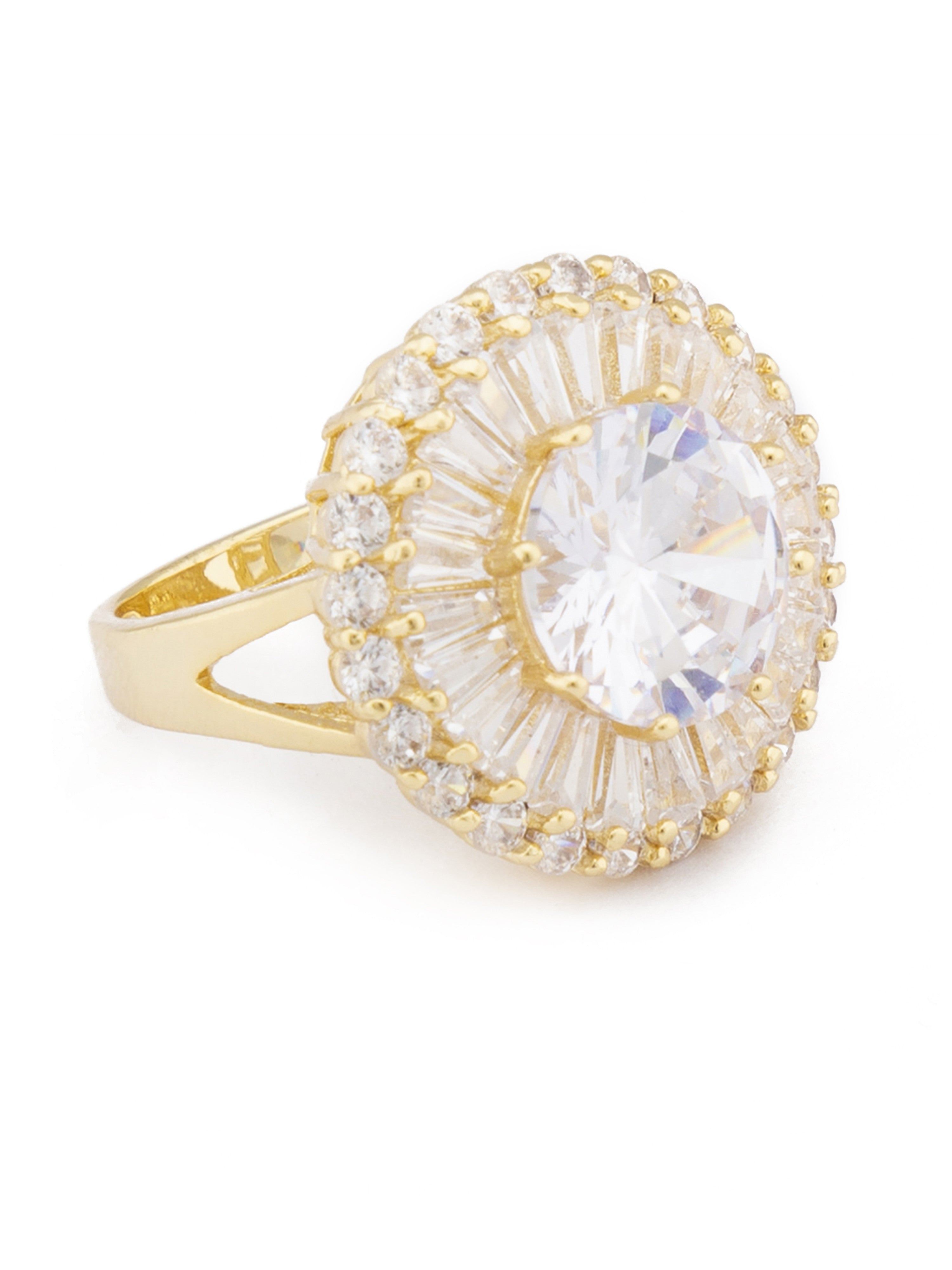White Stone Gold Sun Statement Ring-2