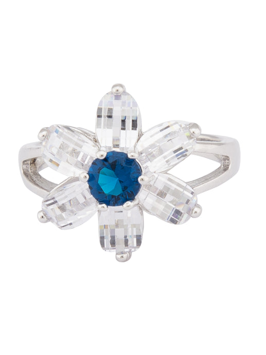 White Navy Floral Silver Ring-1