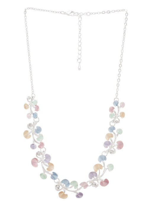 Multi-color Floral Silver Necklace-1