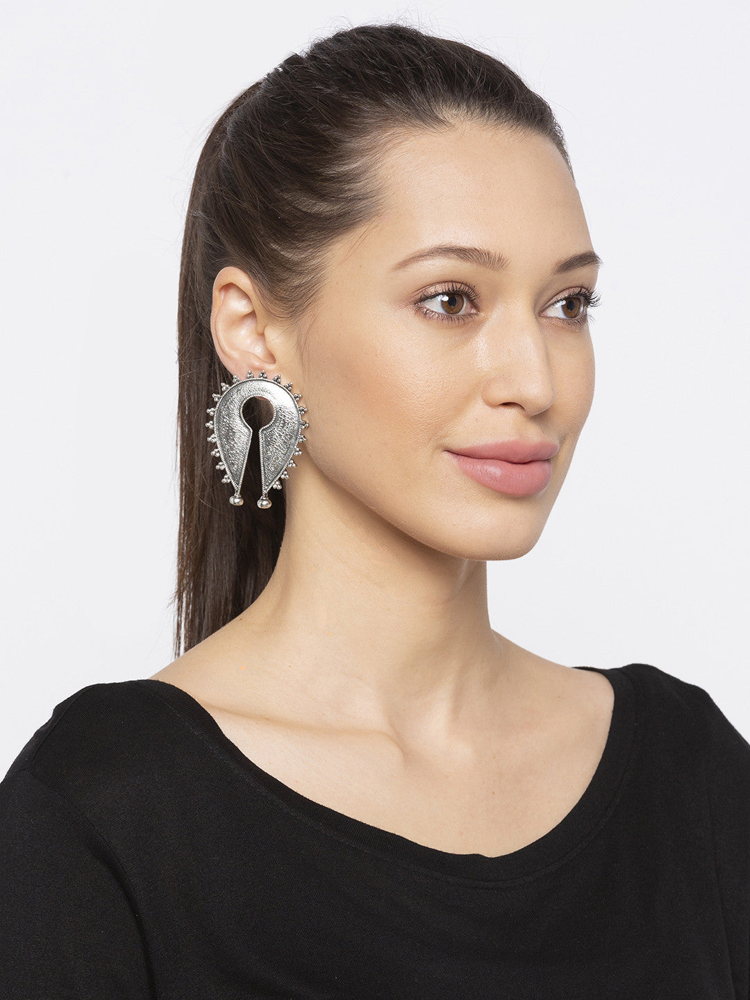 Silver Hoop Earrings-3