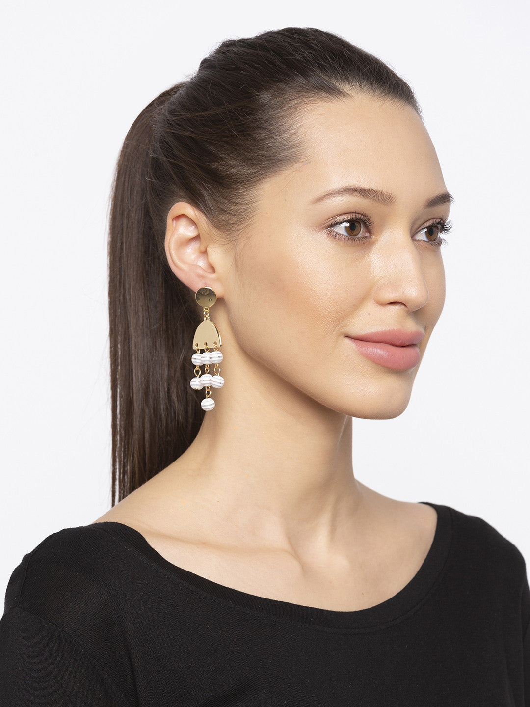 Silver Stones and Beads Drop Earrings-3