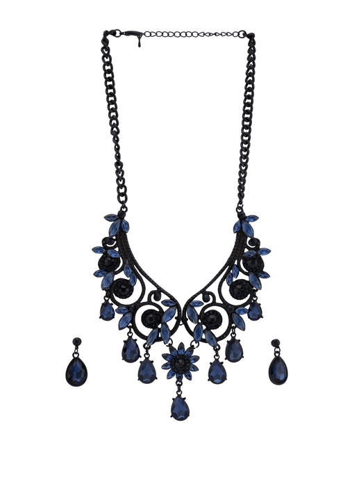 Navy Black Stone Necklace and Earrings-1