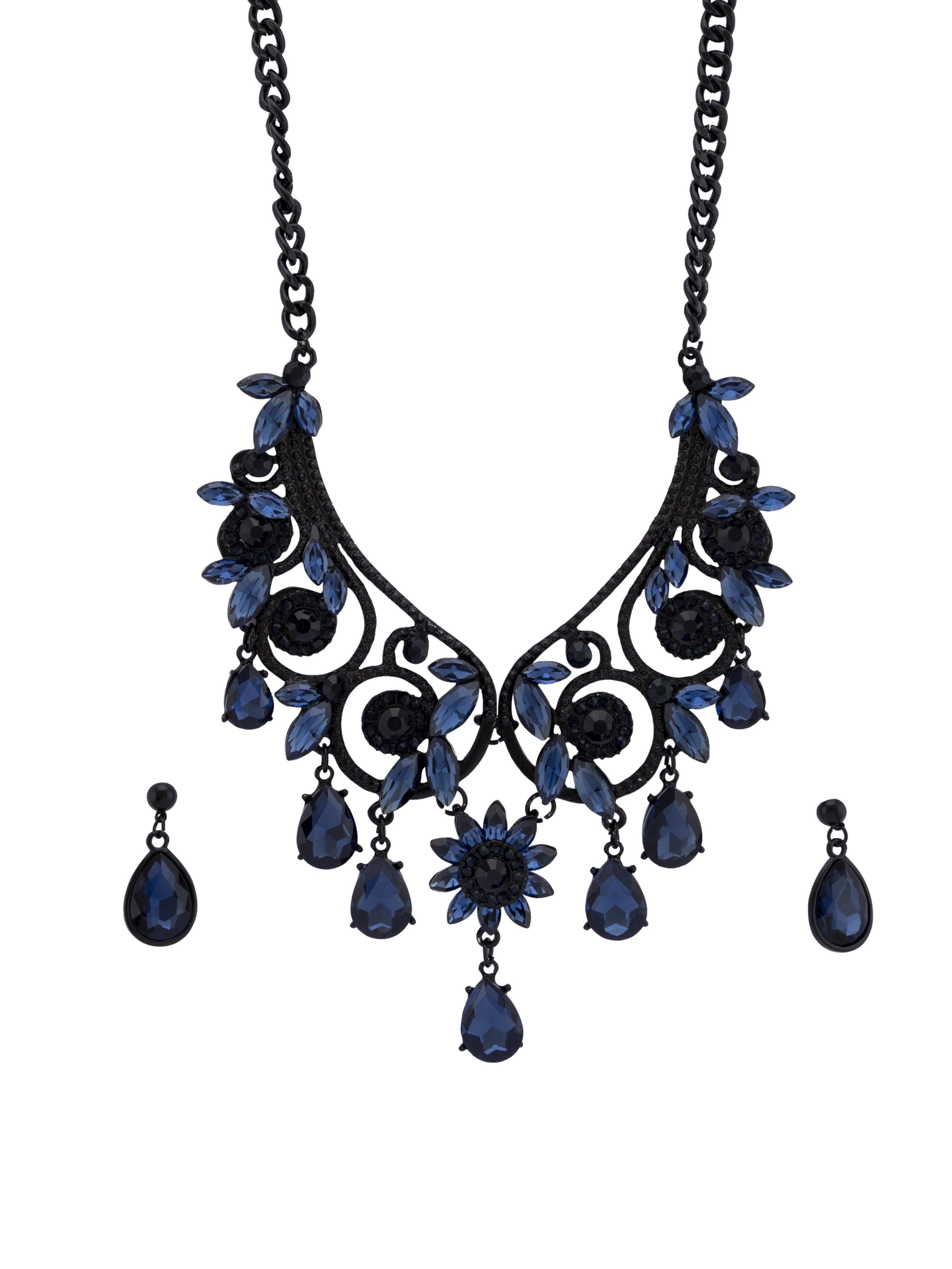 Navy Black Stone Necklace and Earrings-2
