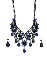 Load image into Gallery viewer, Navy Black Stone Necklace and Earrings-2