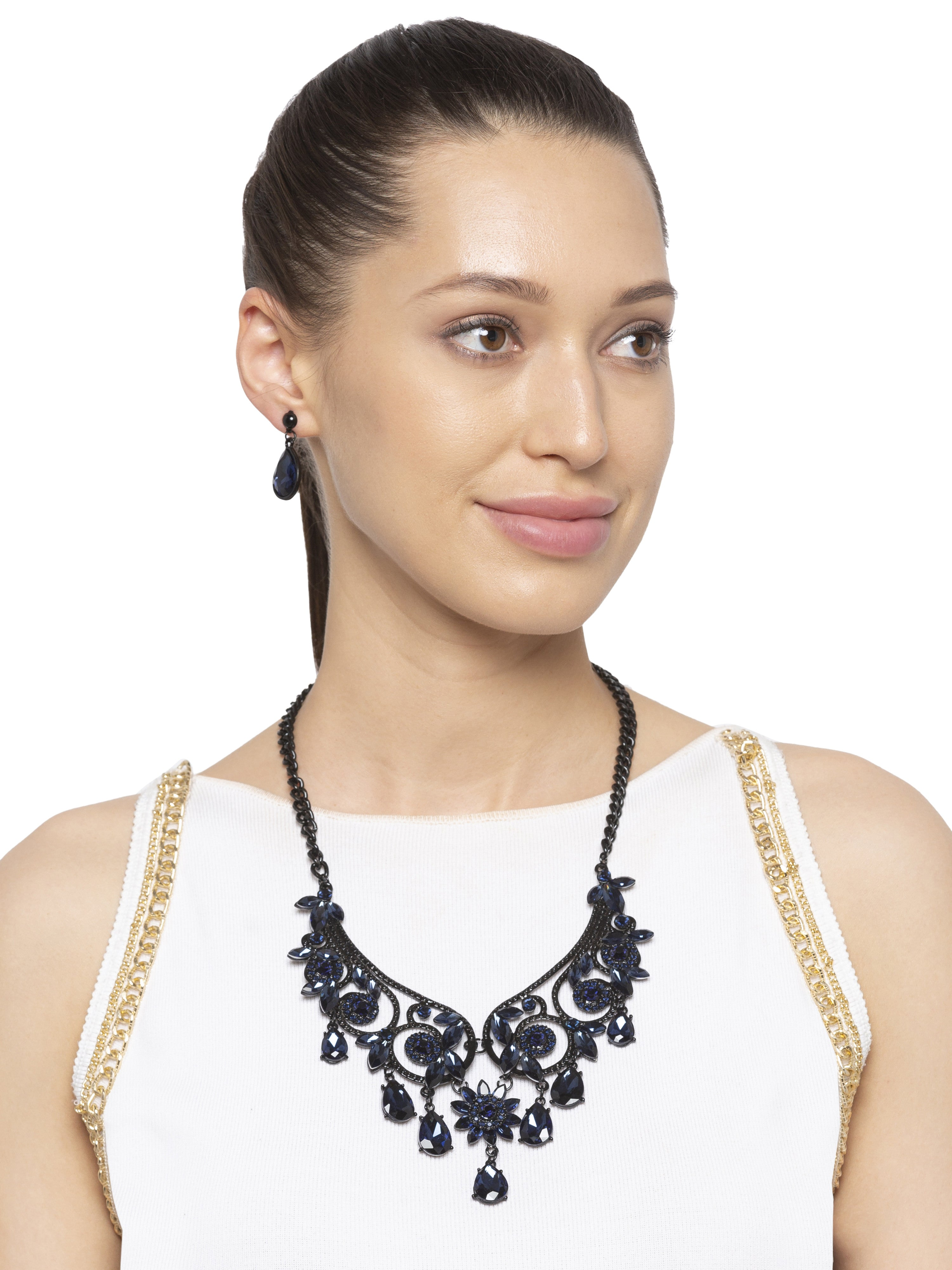 Navy Black Stone Necklace and Earrings-3
