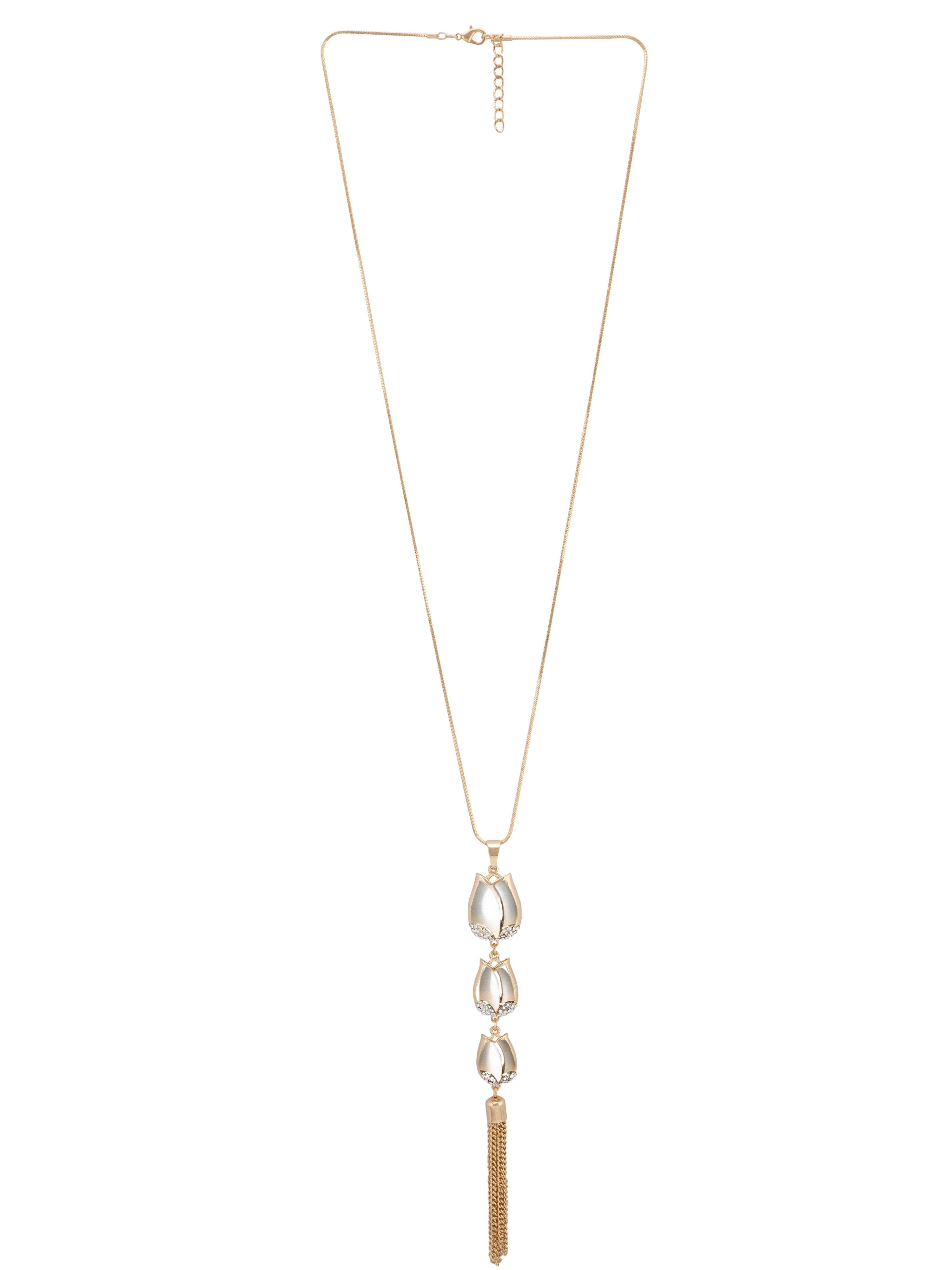 Cascading Tulip Pendant Gold Necklace-1