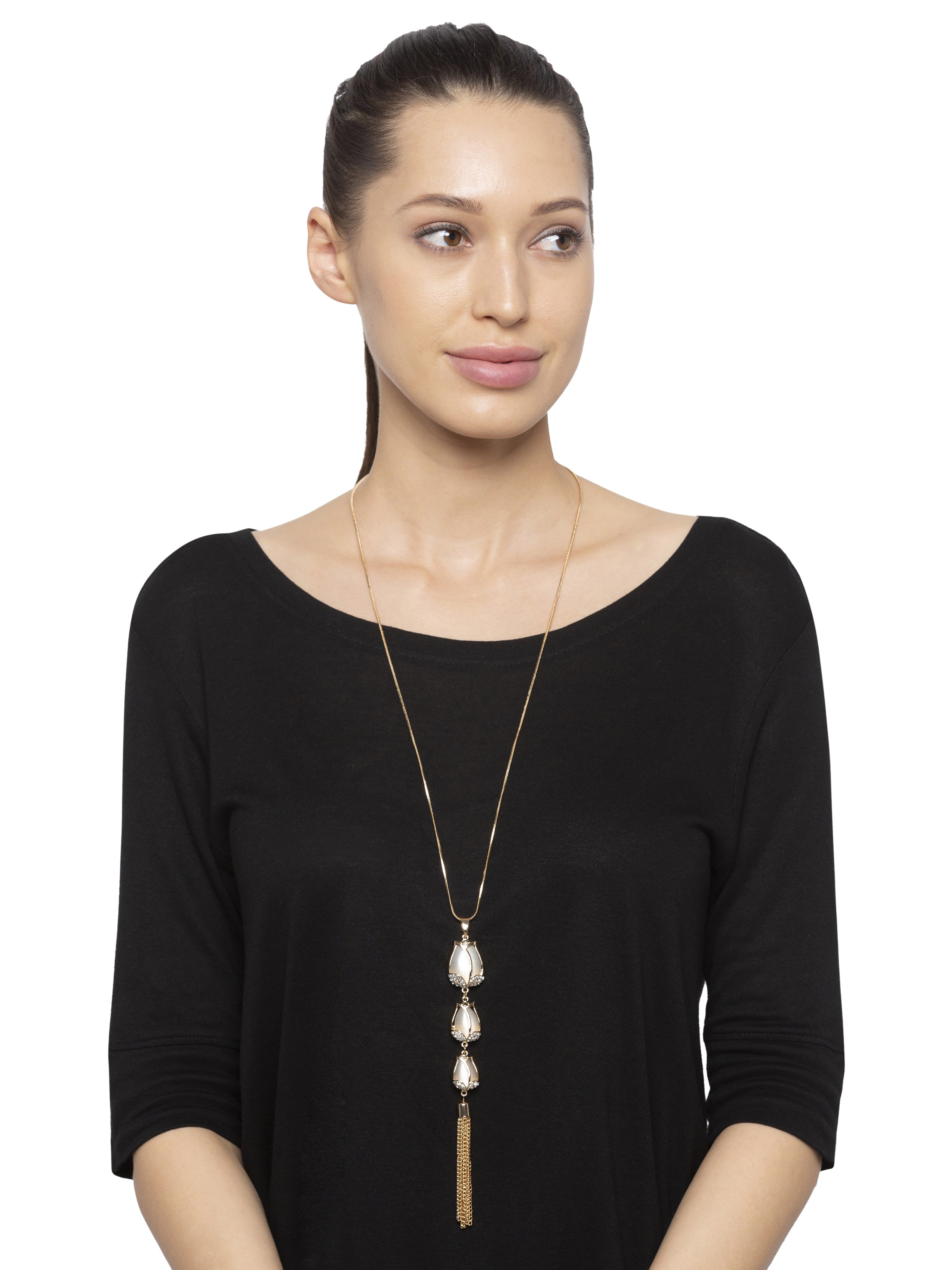 Cascading Tulip Pendant Gold Necklace-3