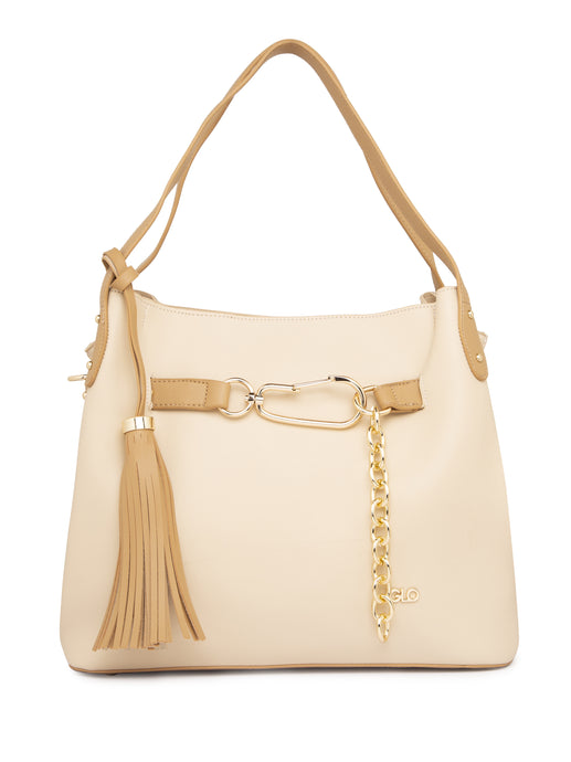 Chain Tassel Beige Structured Handbag-1