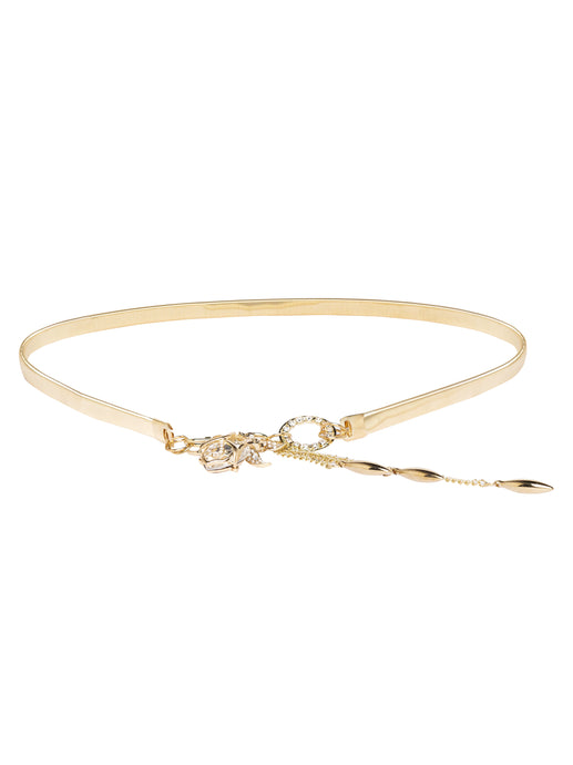 Gold Artificial Stone Slim Belt-1