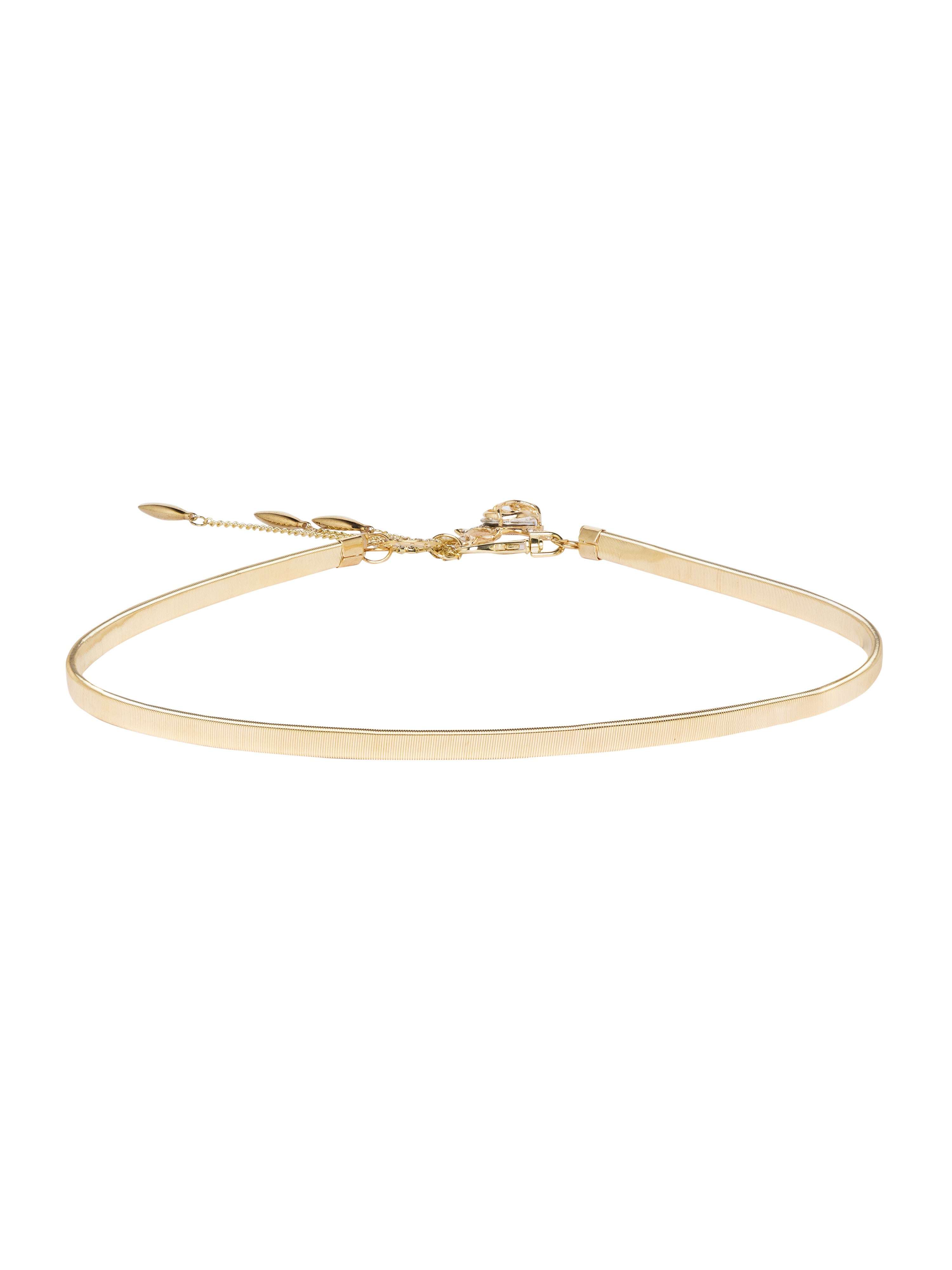 Gold Artificial Stone Slim Belt-2