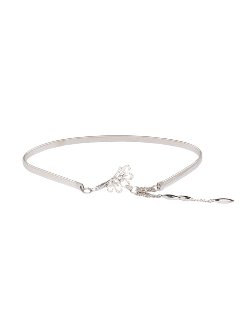 Silver Artificial Stone Slim Belt-1