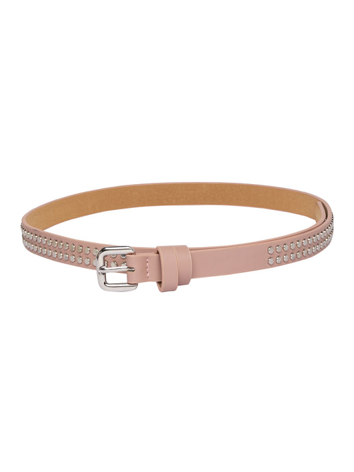 Rivet Detail Slim Taupe Belt-1