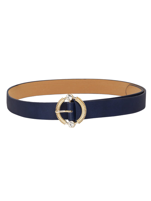 Embellished Buckle Navy Belt-1