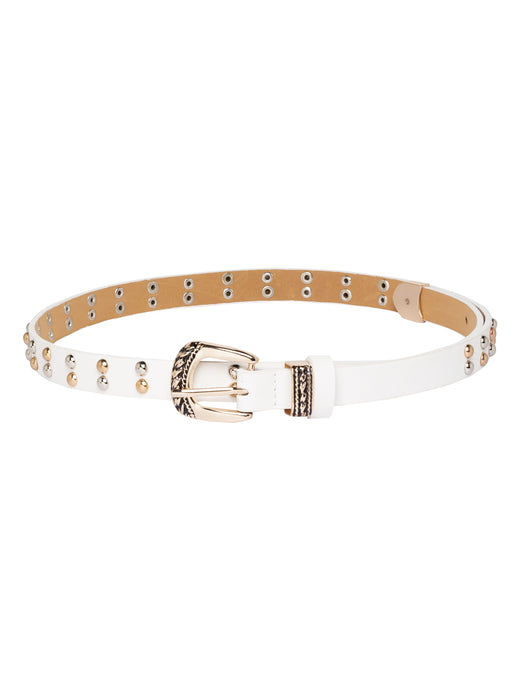 Studded White Casual Belt-1