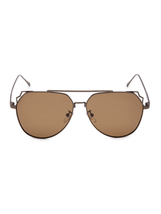 Brown Full Rim Aviator Sunglasses-1