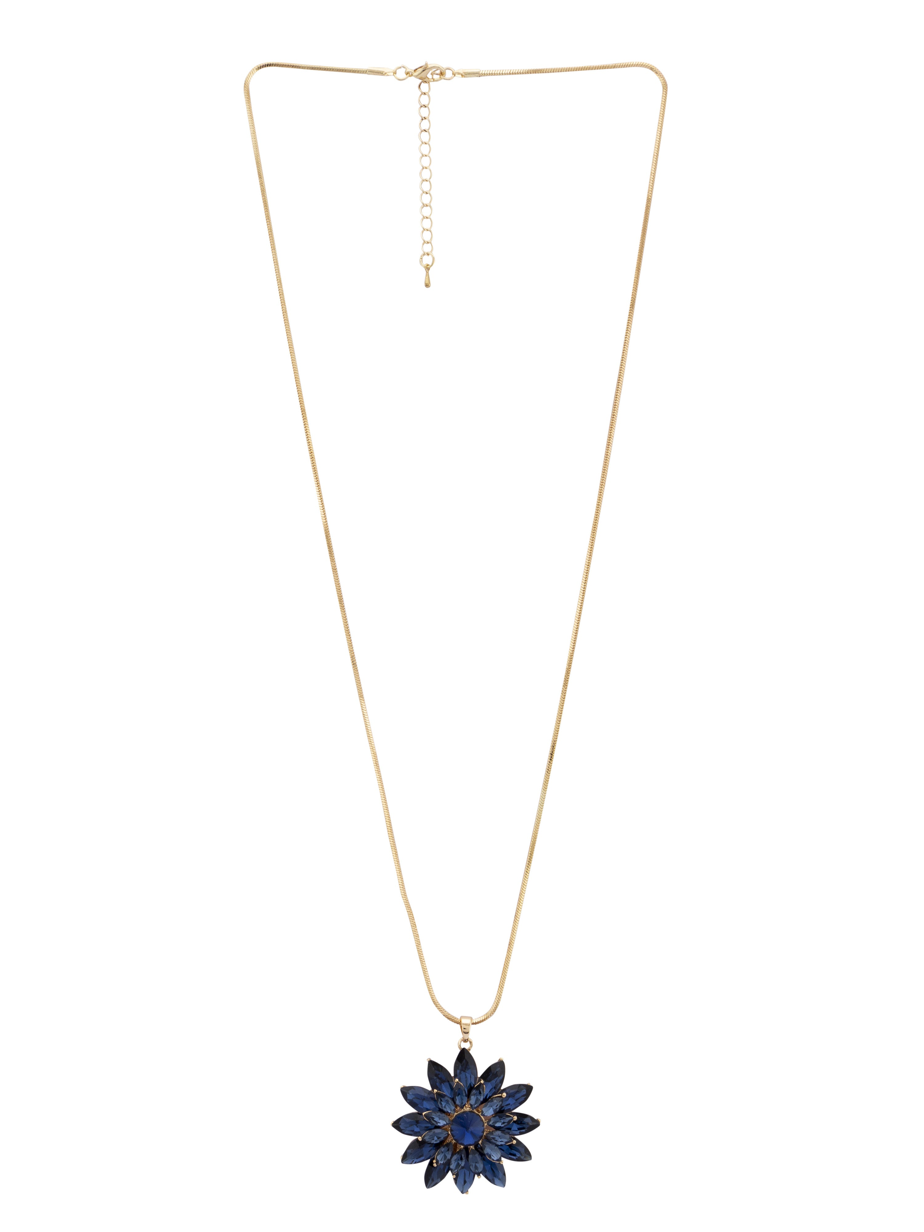 Floral Pendant Navy Gold Necklace-1