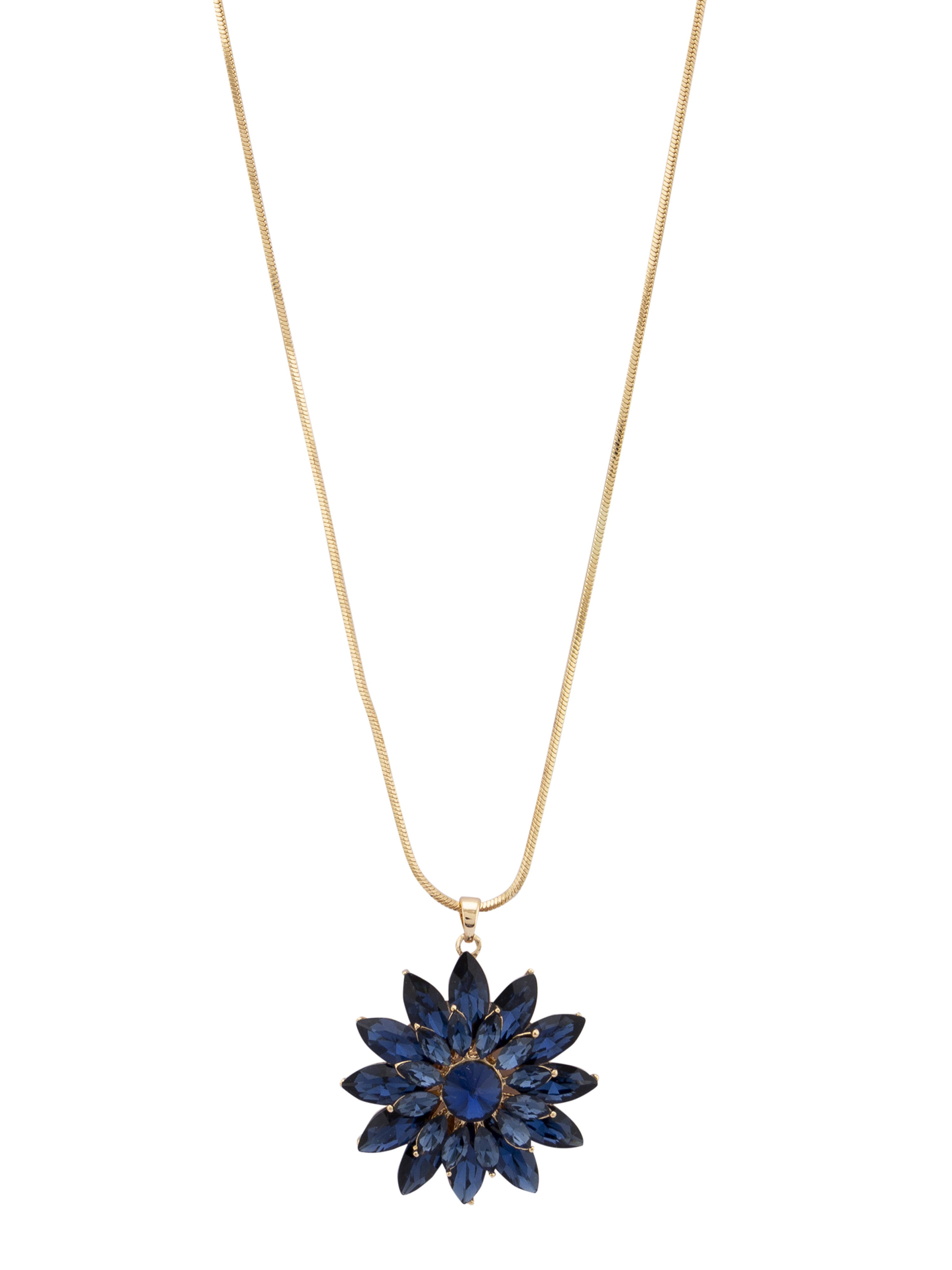 Floral Pendant Navy Gold Necklace-2