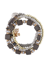 Load image into Gallery viewer, Grey Stone Gold Multi-Strand Bracelet-3