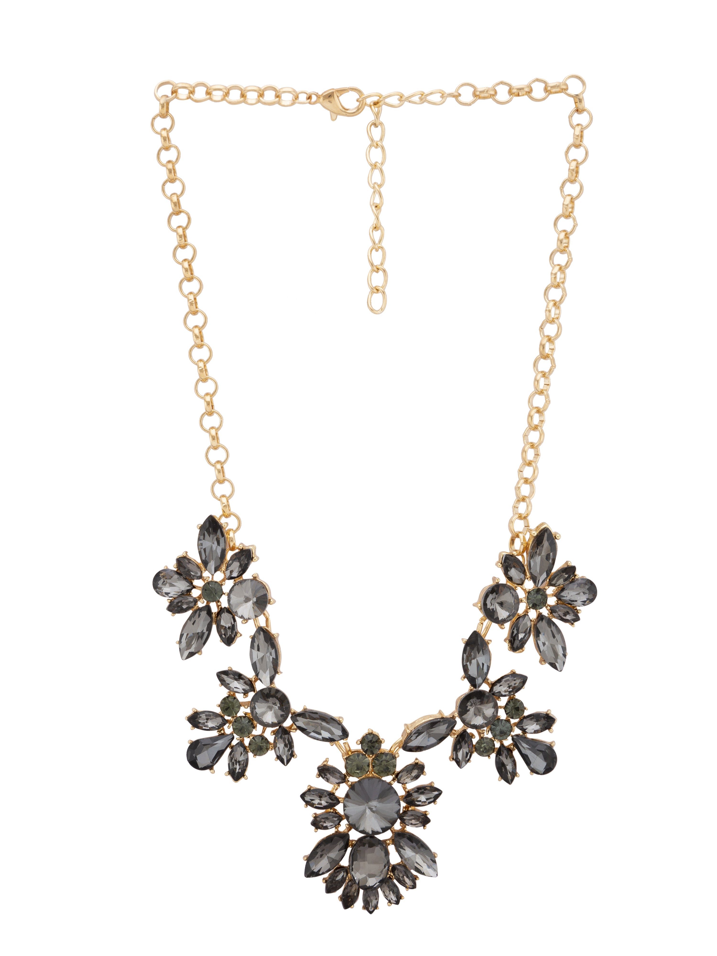 Grey Stone Gold Statement Necklace-1