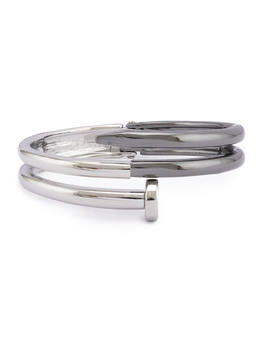 Gun Metal Silver Bangle Bracelet-1