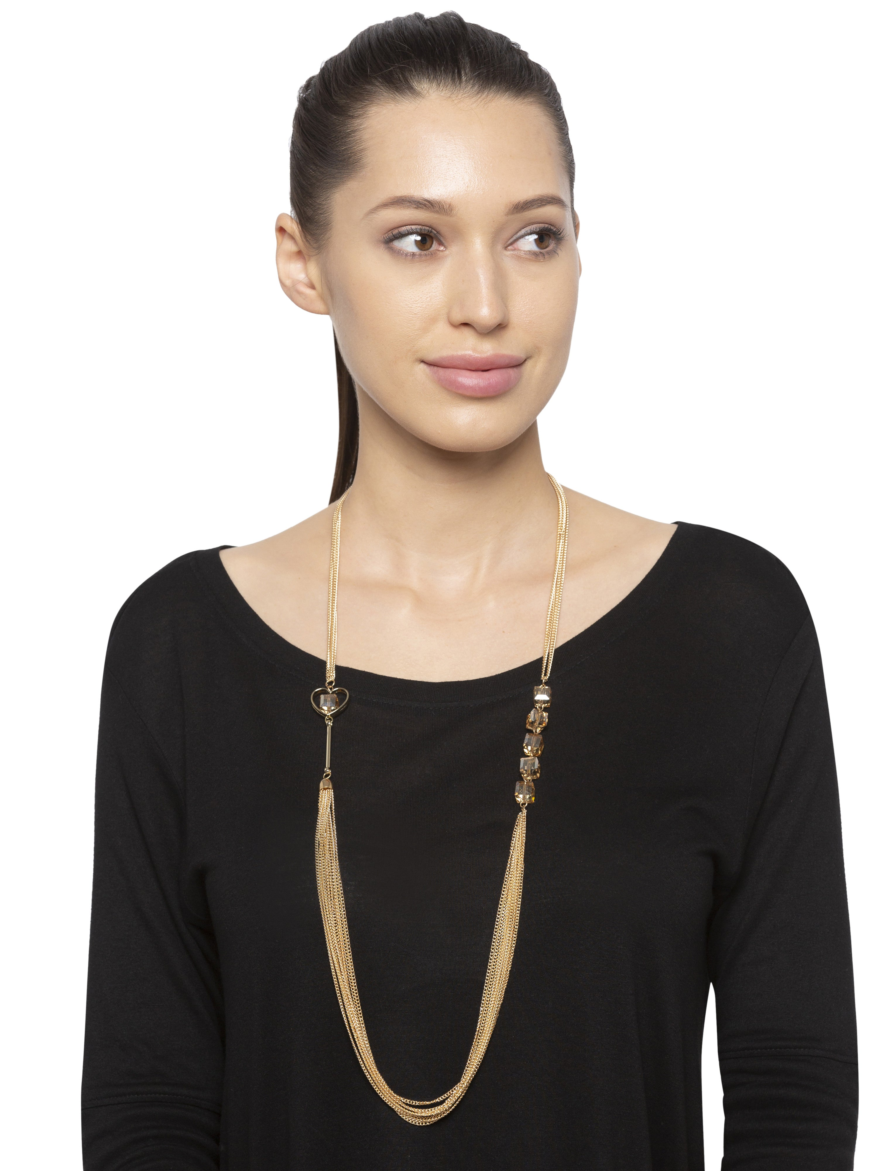 Gold Crystal Multi-strand Necklace-3