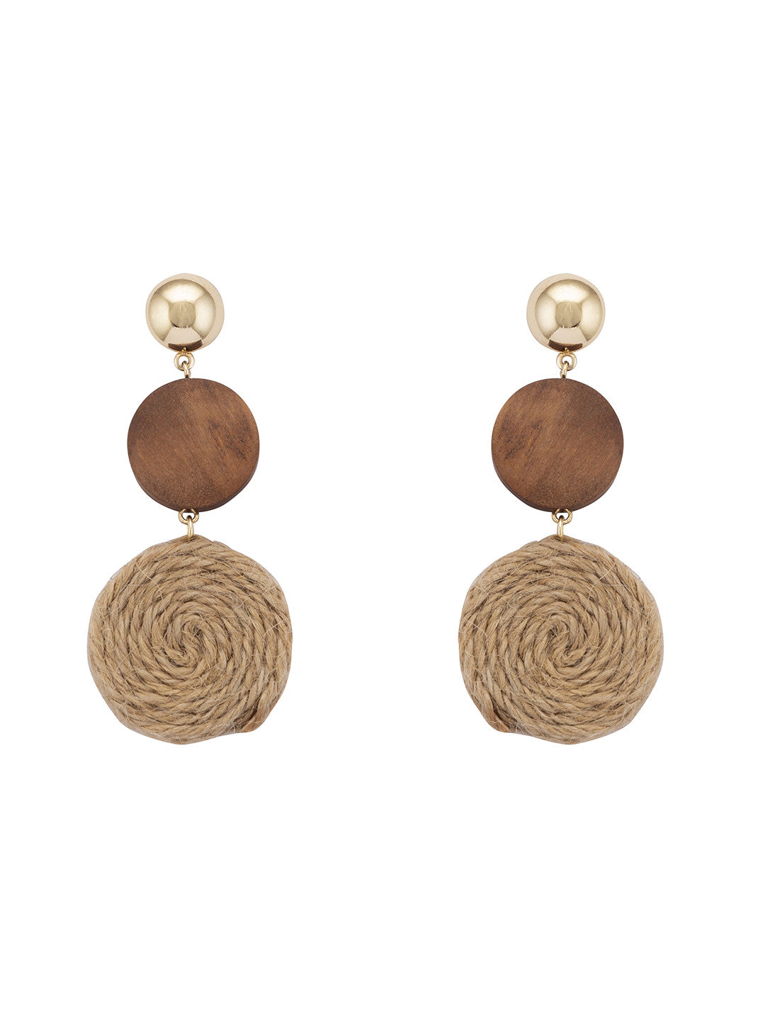 Brown Stones and Beads Drop Earrings-1