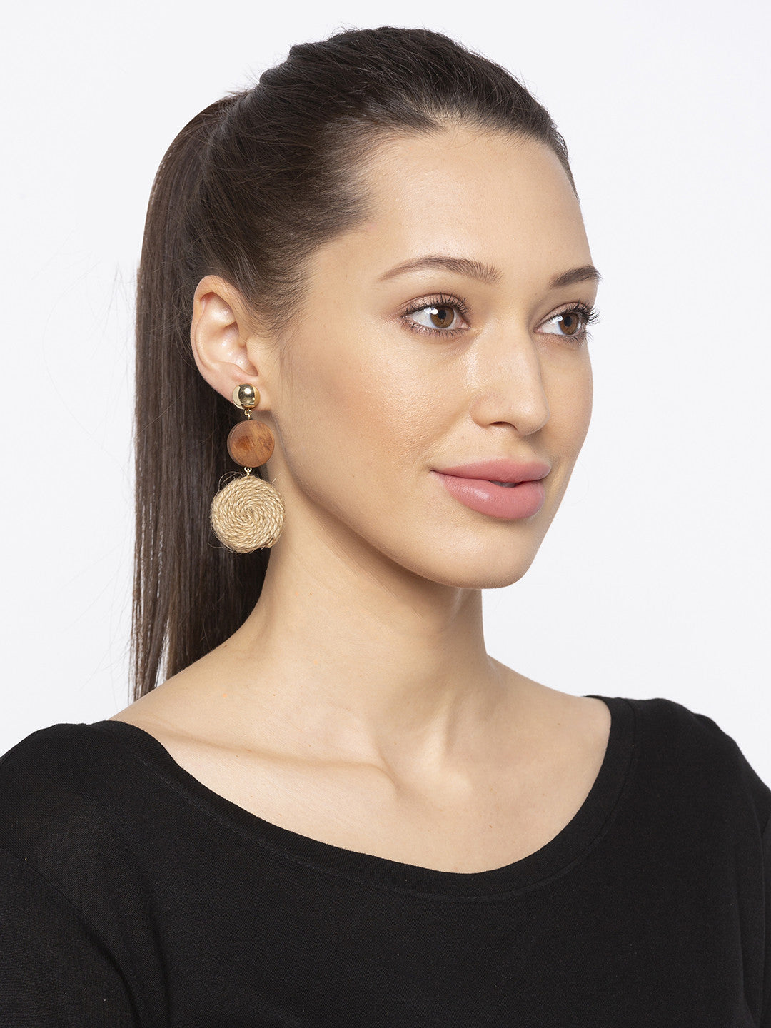 Brown Stones and Beads Drop Earrings-3