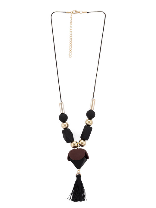 Gold & Black Stones and Beads Necklace-1