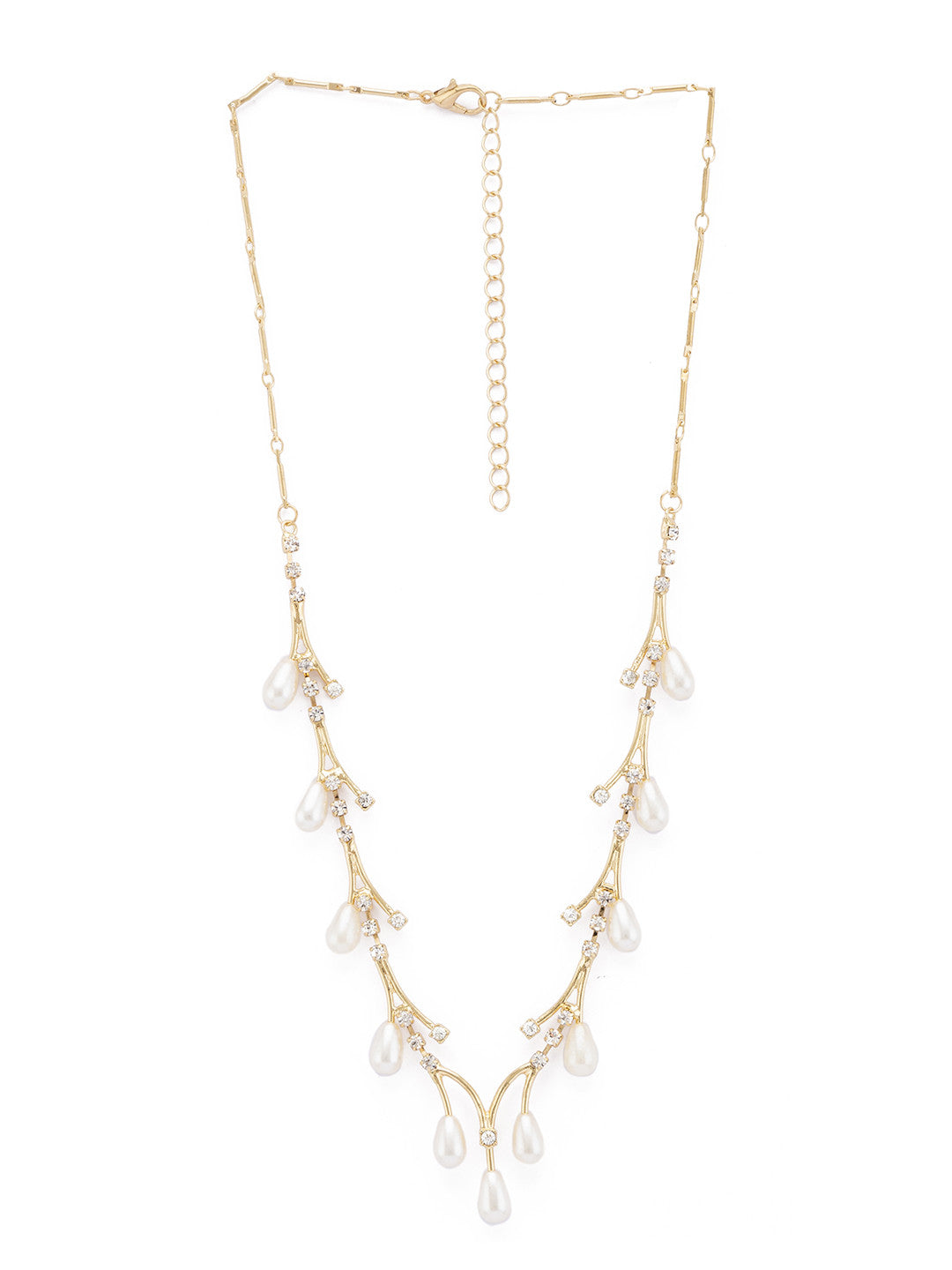 Gold & White Stones and Beads Necklace-1