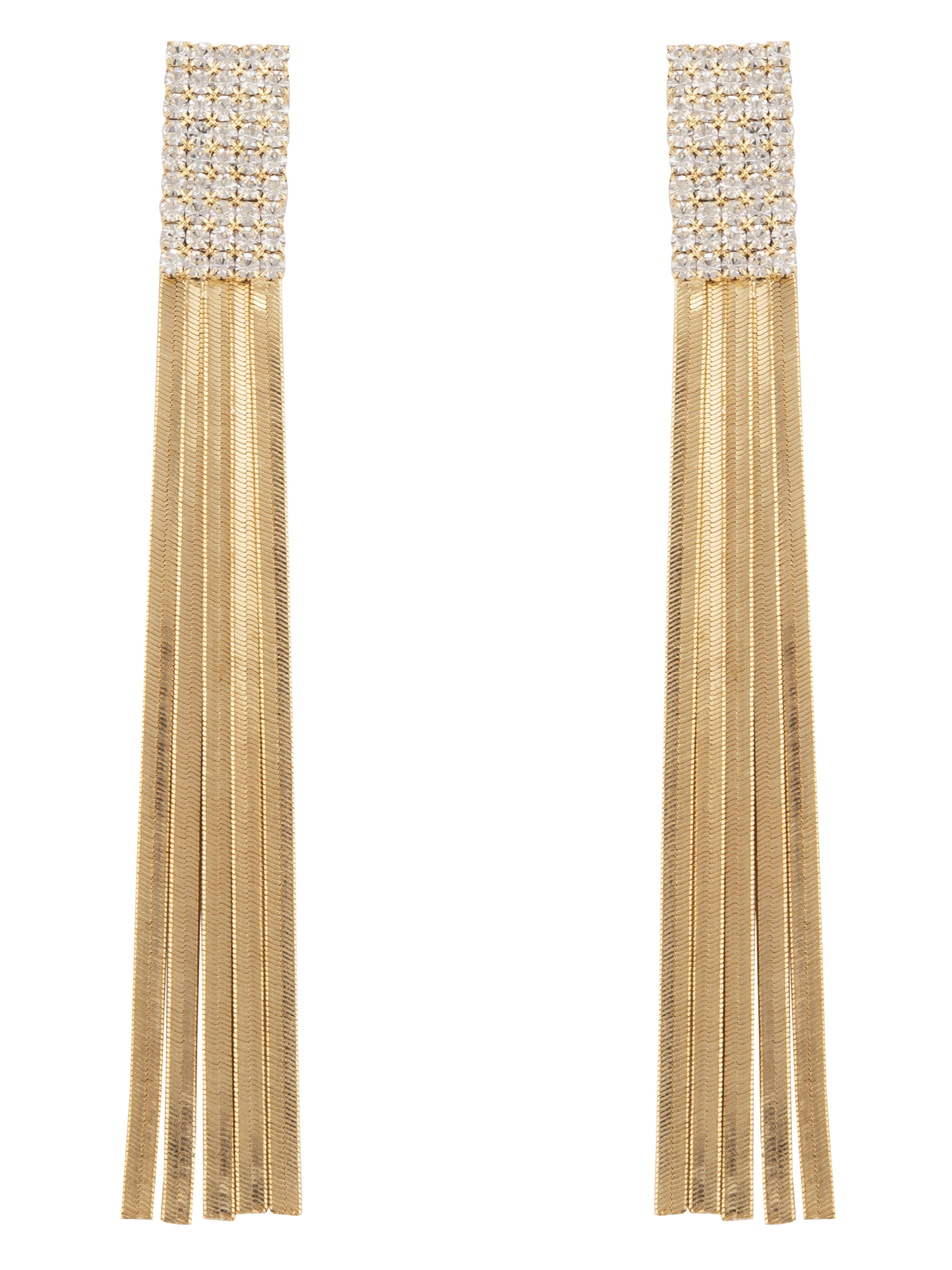 Stone Gold Tassel Long Danglers-1