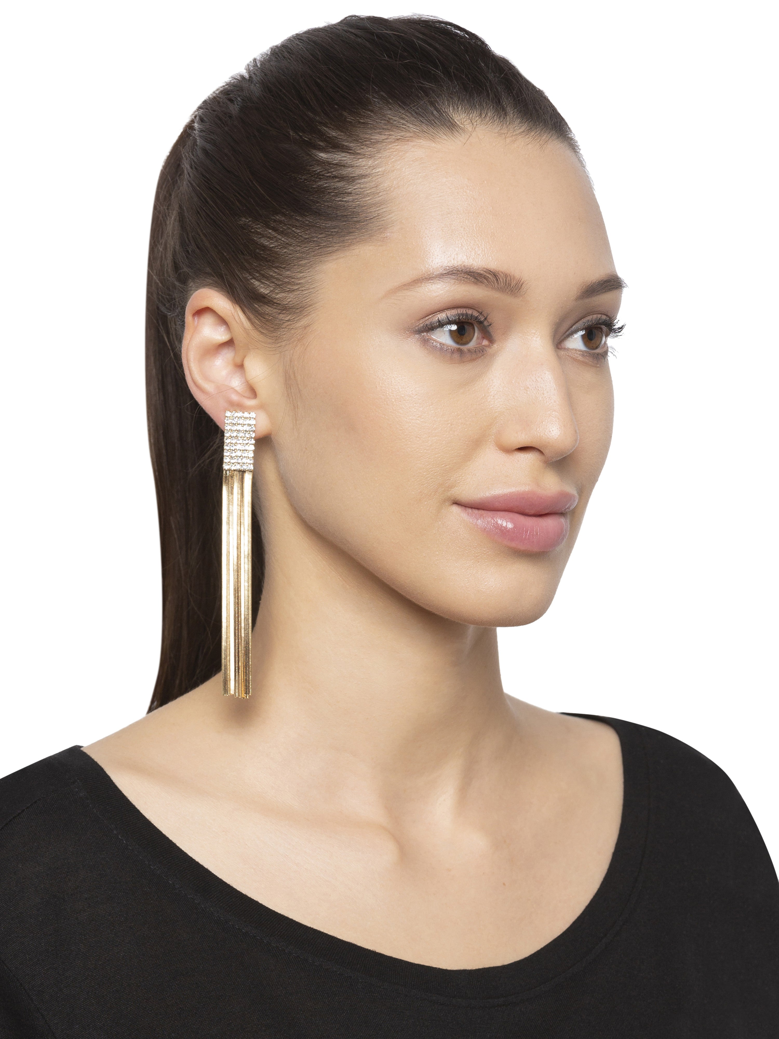 Stone Gold Tassel Long Danglers-3