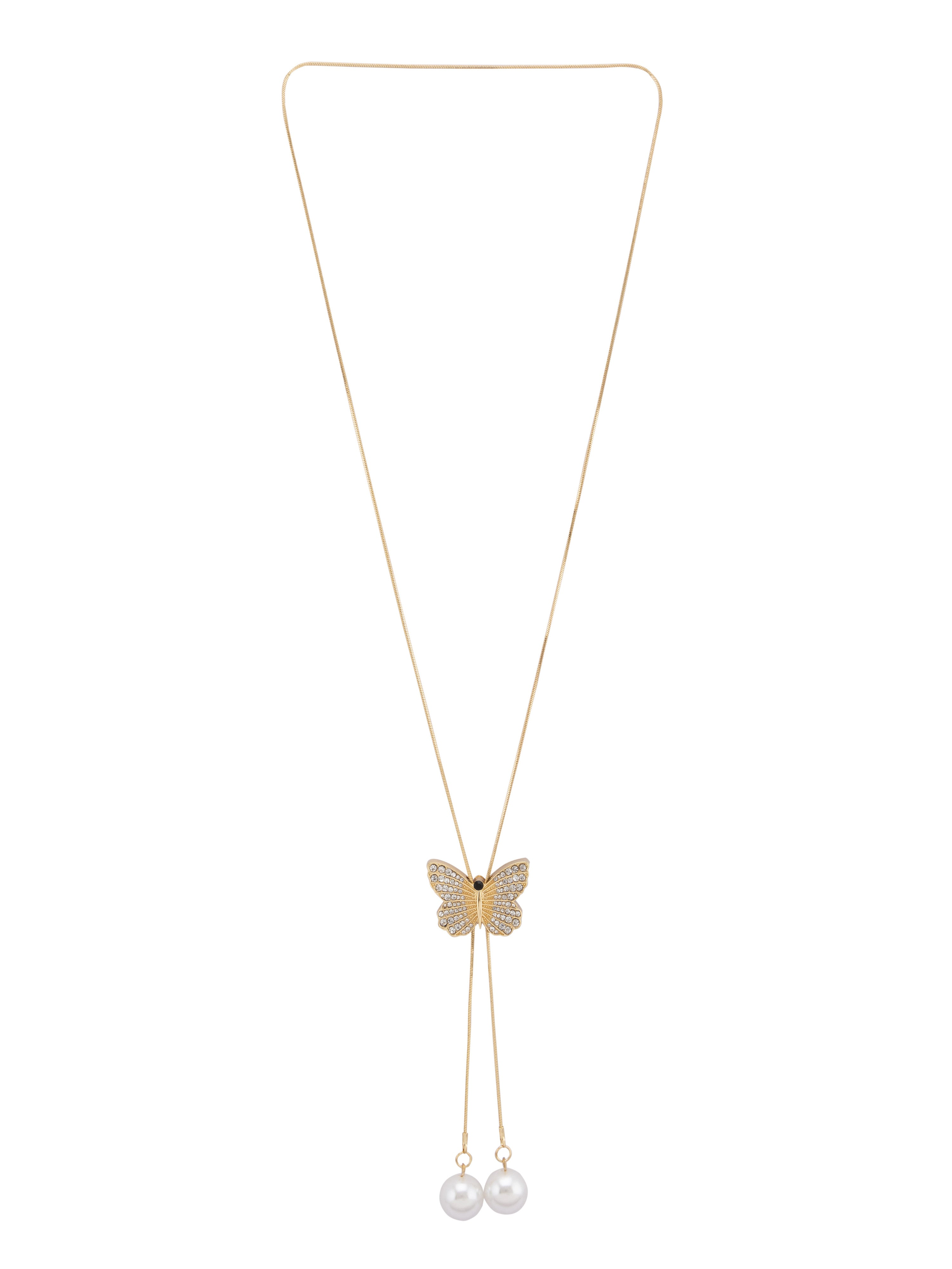 Butterfly Pendant Gold Slider Necklace-1