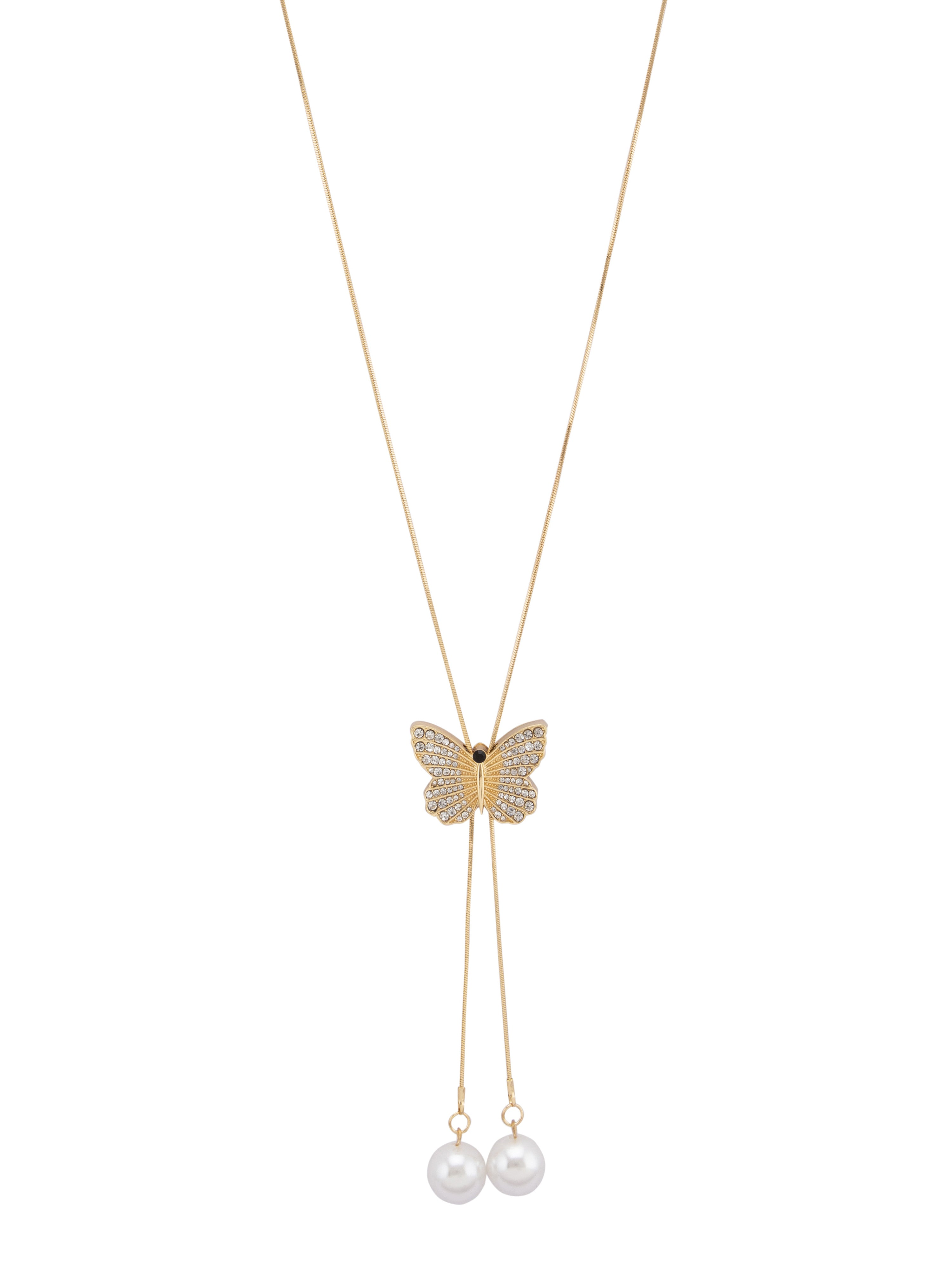 Butterfly Pendant Gold Slider Necklace-2